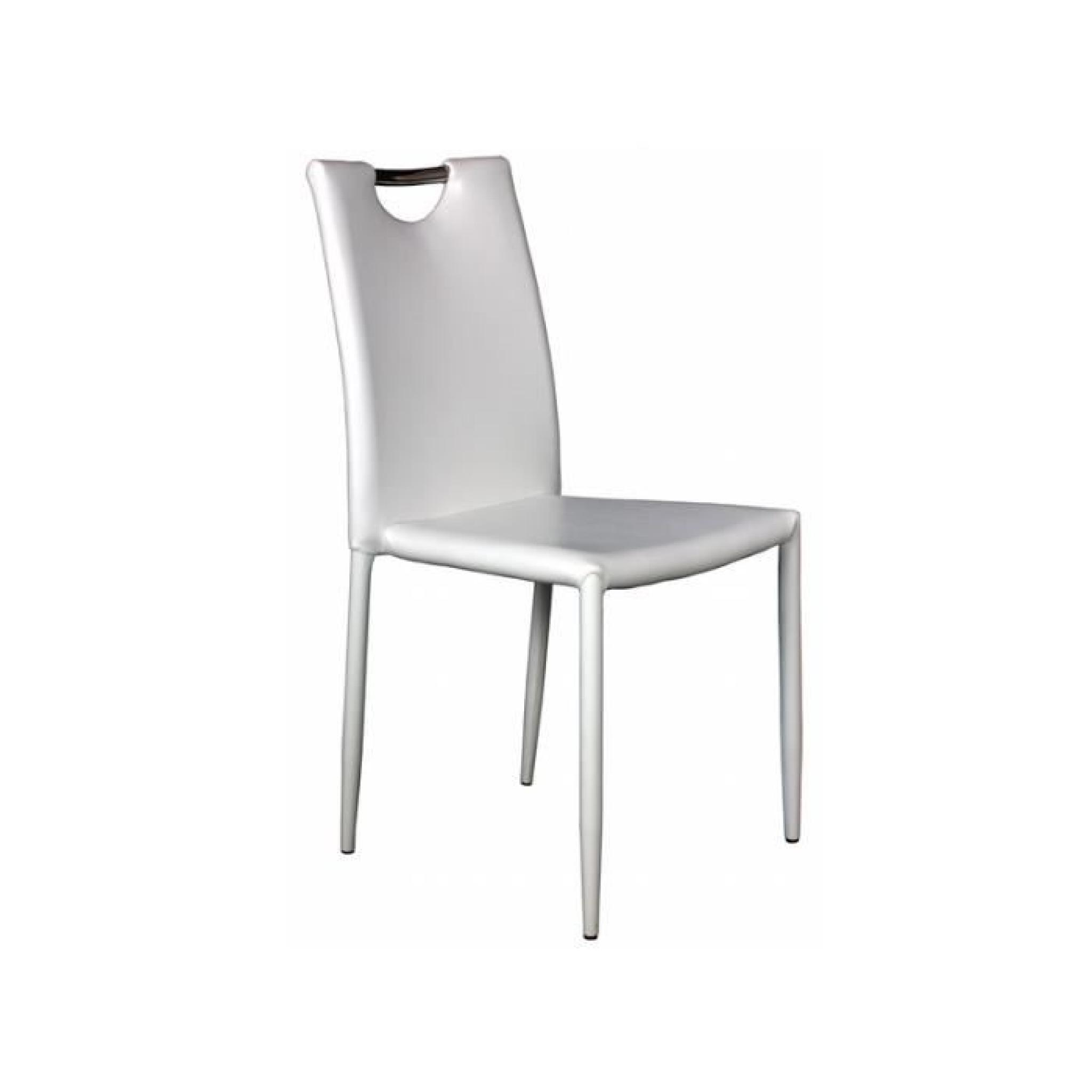 kira lot 4 chaises blanches achat vente chaise salle a