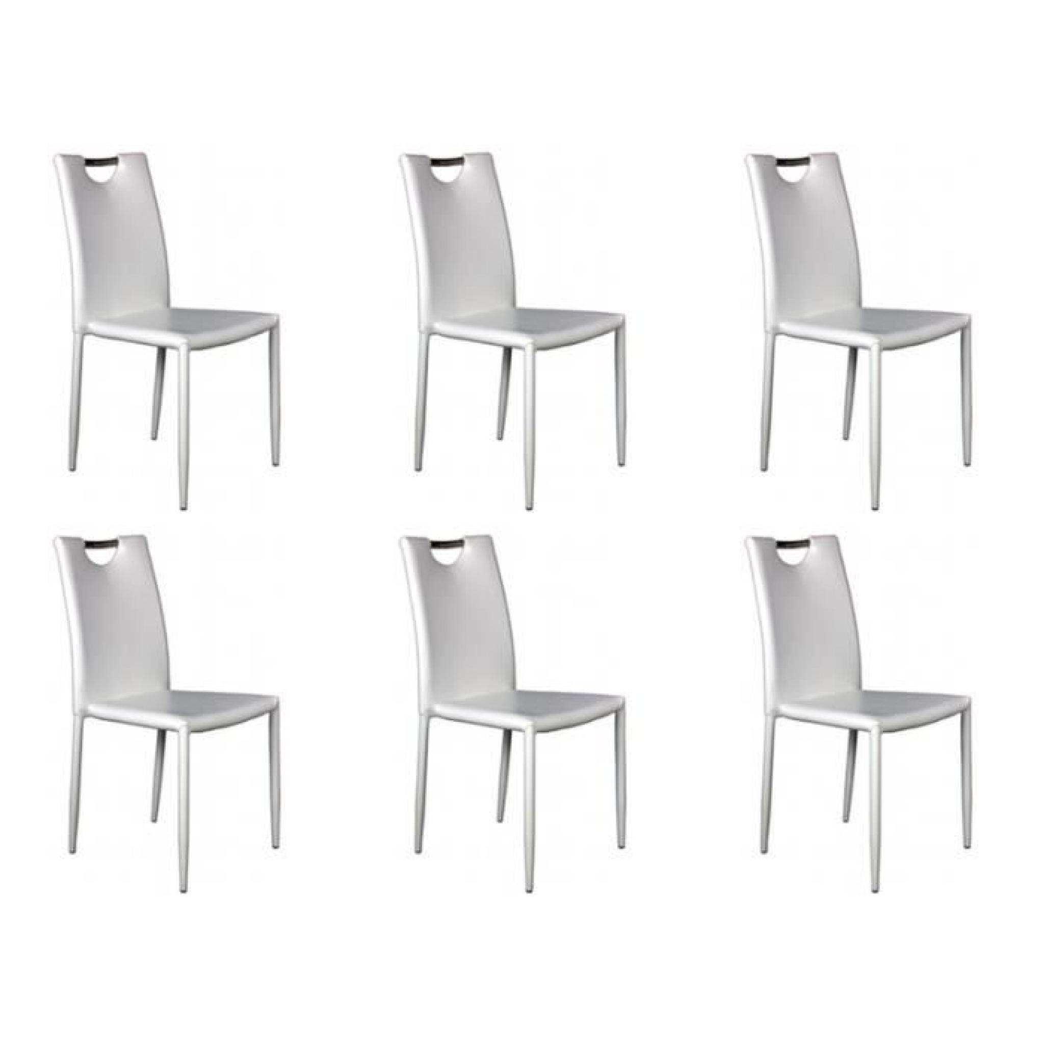 kira lot 6 chaises blanches achat vente chaise salle a. Black Bedroom Furniture Sets. Home Design Ideas