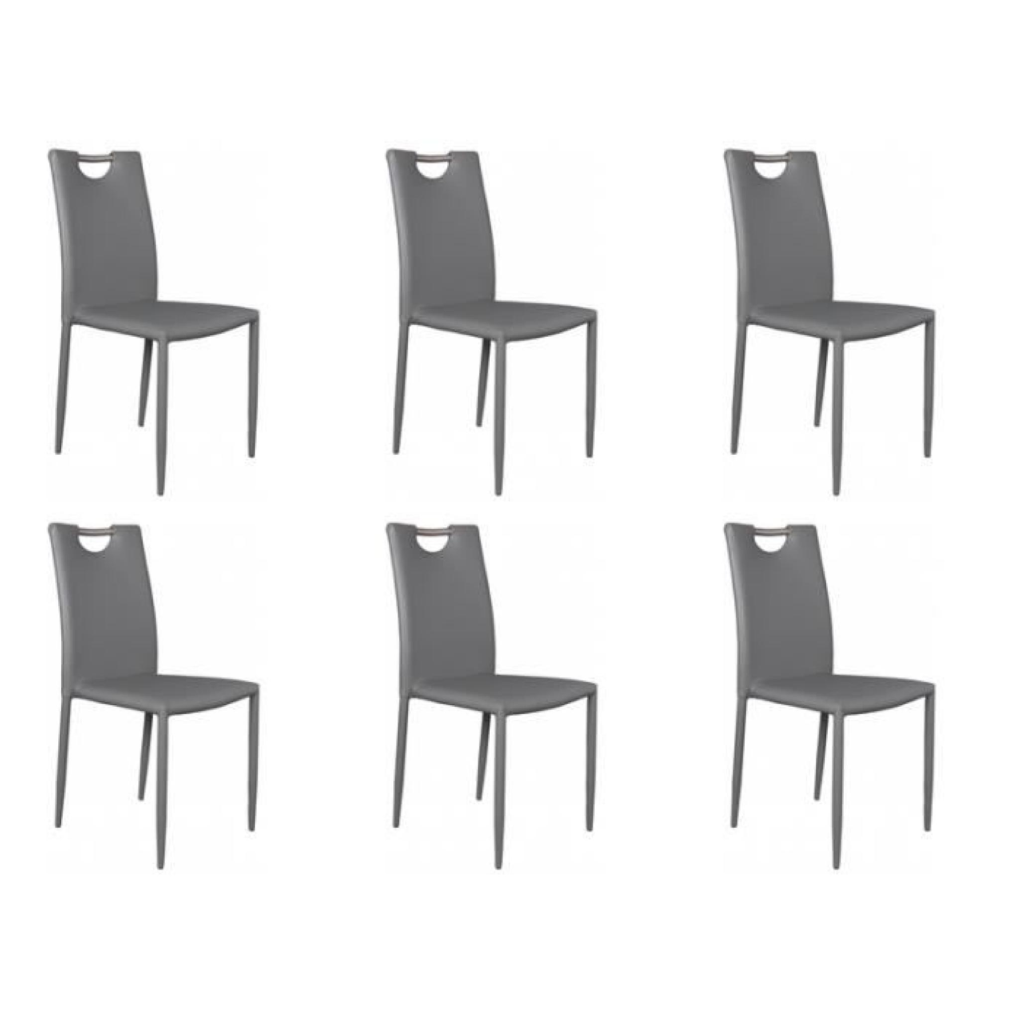 kira lot 6 chaises grises achat vente chaise salle a. Black Bedroom Furniture Sets. Home Design Ideas