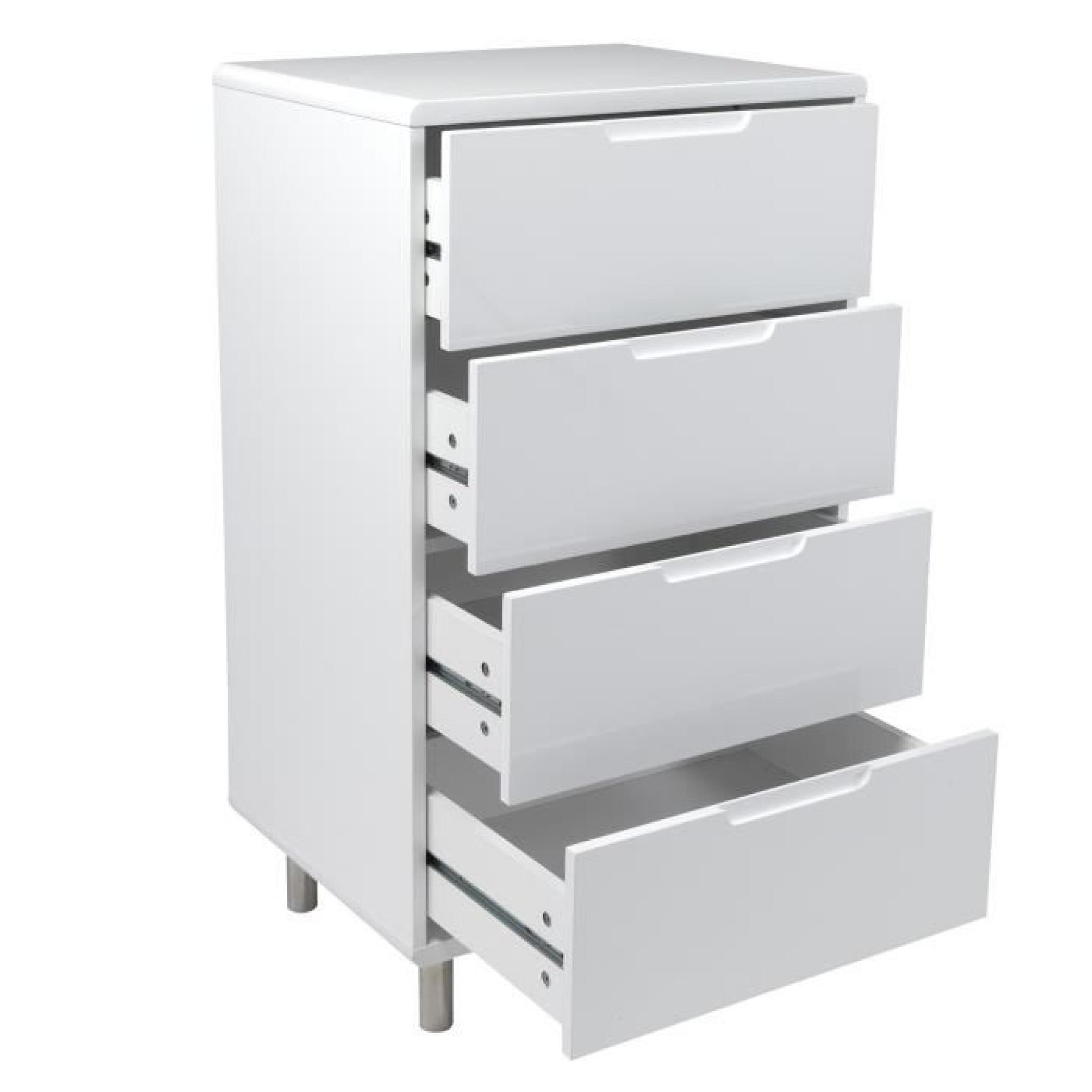 kity chiffonnier 4 tiroirs laqu achat vente commode pas cher couleur et. Black Bedroom Furniture Sets. Home Design Ideas