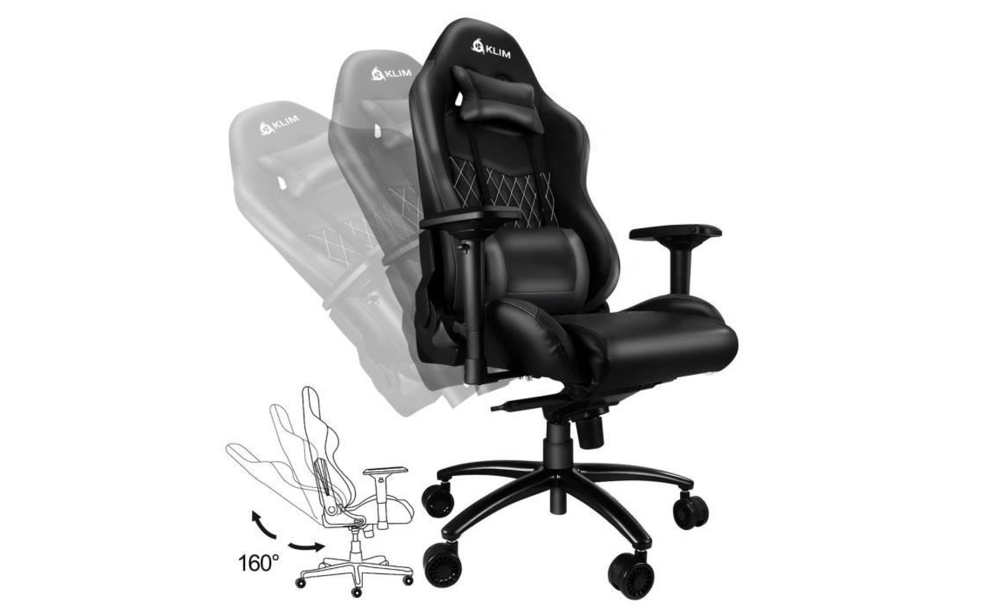 Finitions Soignées Inclinable Gamer Ajustable Noir Chaise Haute Esports Très Bureau Ergonomique Qualité Siege Klim Sc43AL5jqR