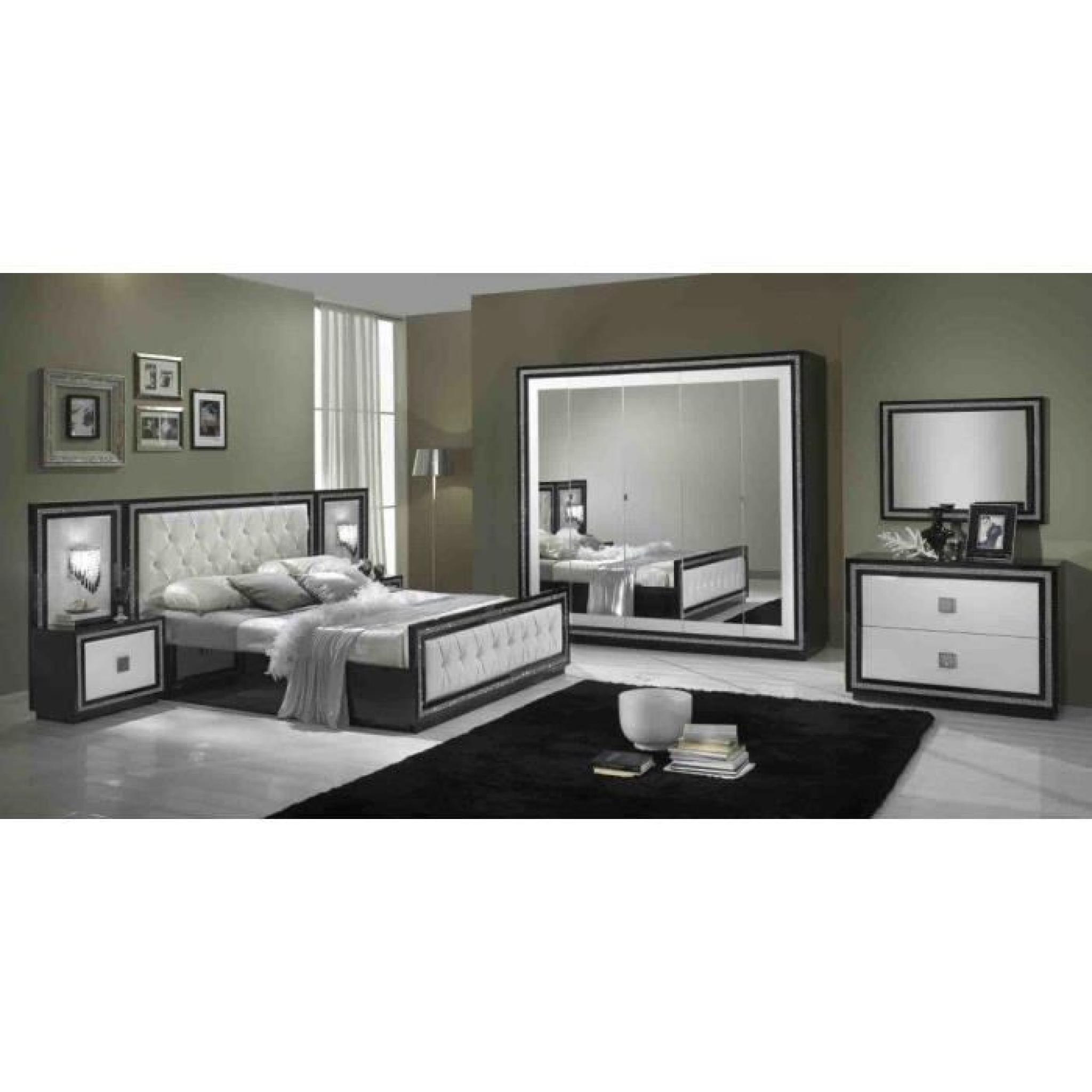 Kristel noire et blanche laquee ensemble chambre a coucher for Chambre a coucher blanche complete