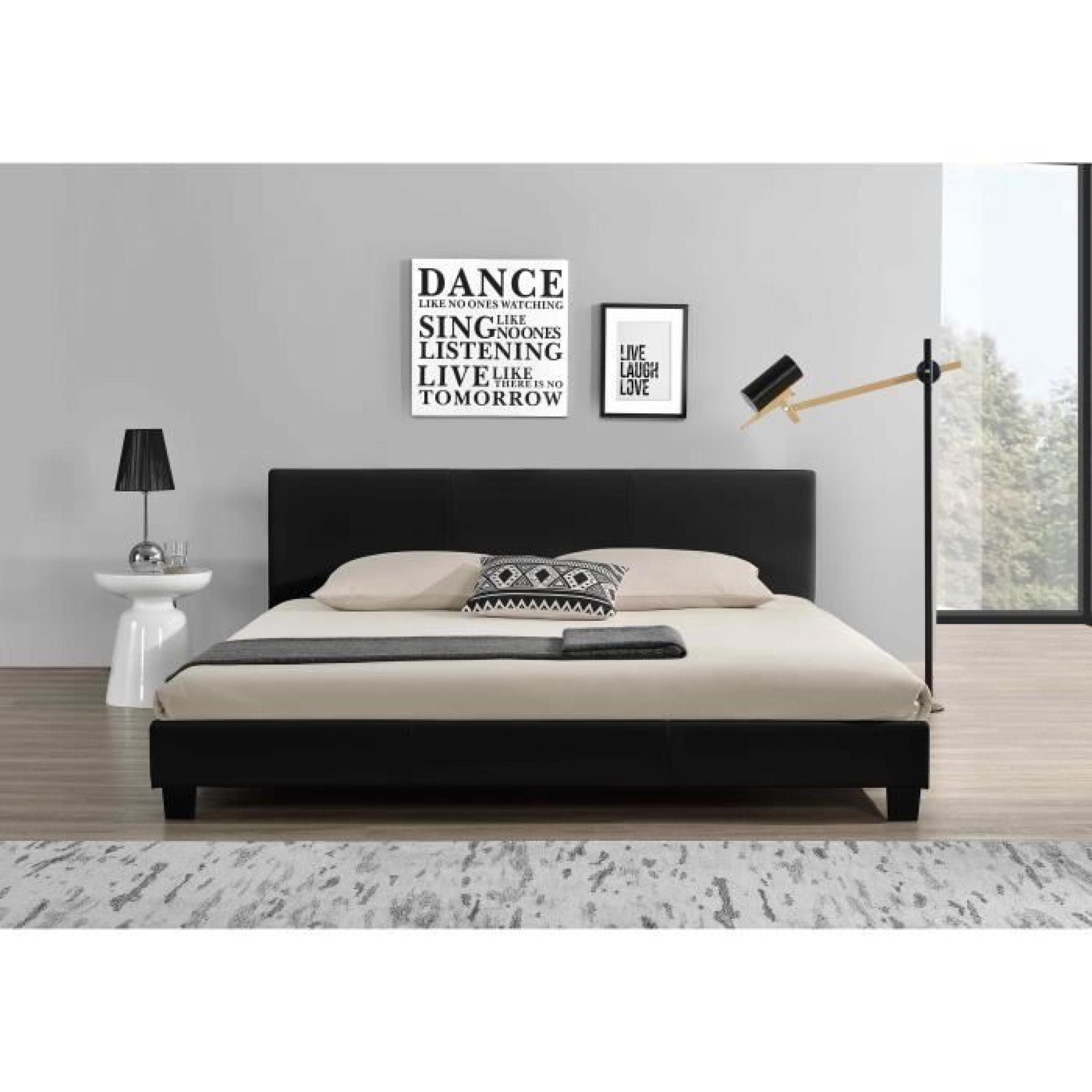 lit contemporain 180x200 noir structure lit t te de lit simili cuir achat vente lit pas cher. Black Bedroom Furniture Sets. Home Design Ideas