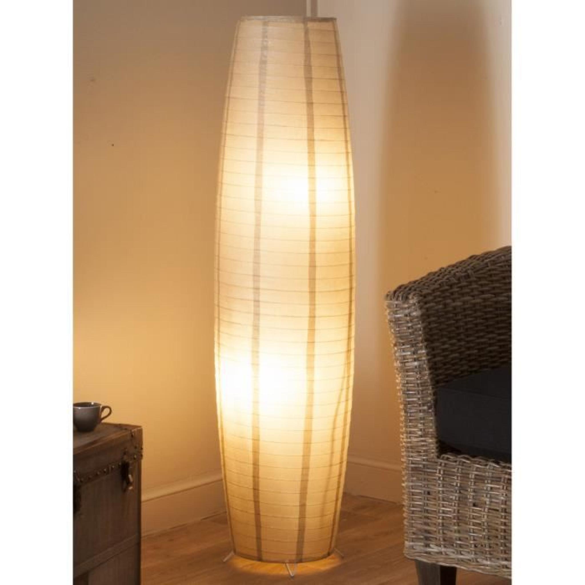 lampadaire papier de riz taupe hauteur 130cm achat vente lampadaire pas cher couleur et. Black Bedroom Furniture Sets. Home Design Ideas