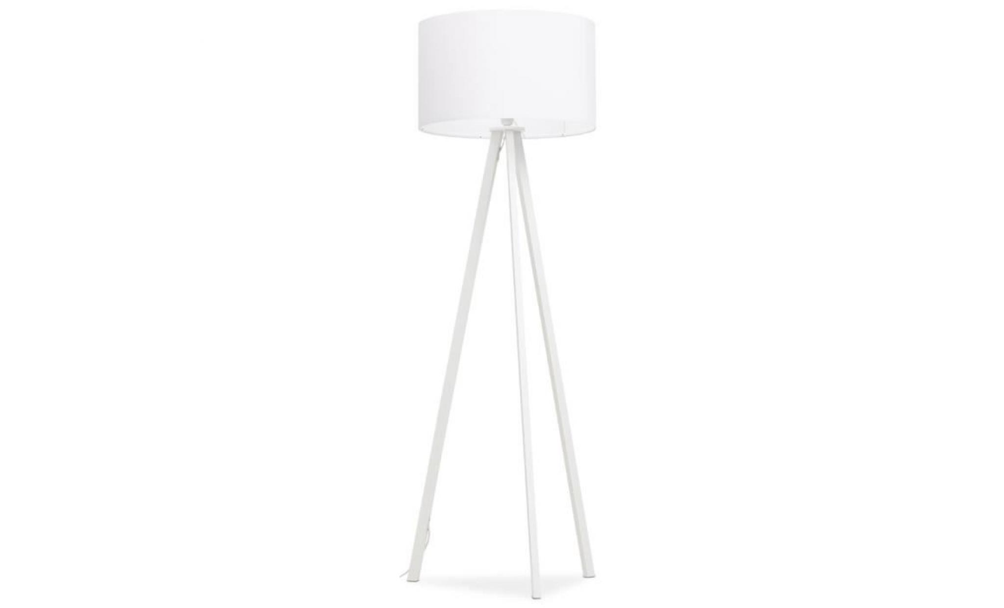 lampadaire tr pied 39 spring 39 avec abat jour blanc et 3. Black Bedroom Furniture Sets. Home Design Ideas