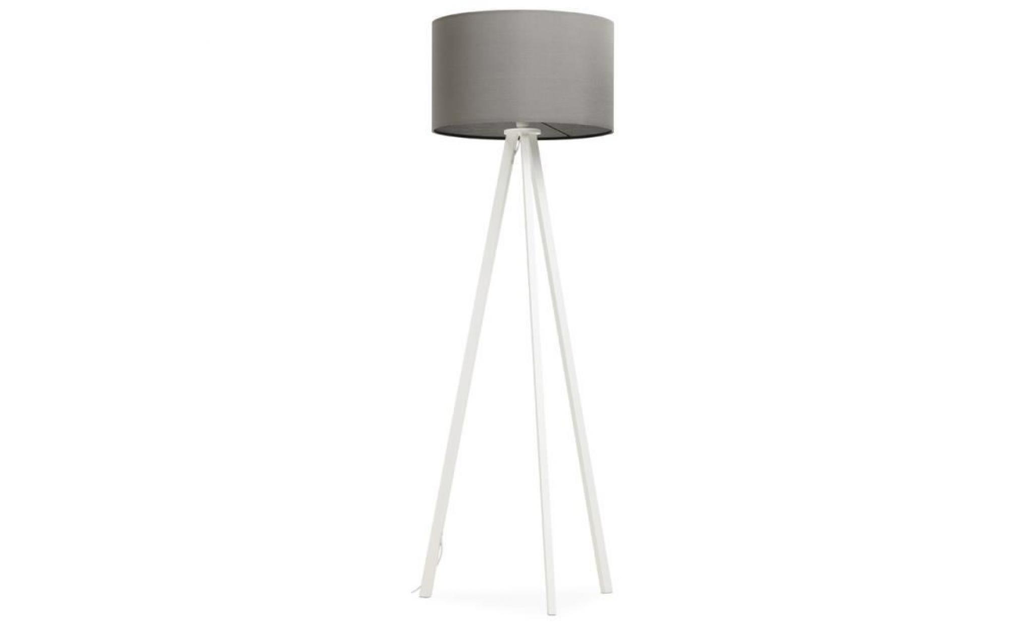 lampadaire tr pied 39 spring 39 avec abat jour gris et 3 pieds noirs achat vente lampadaire pas. Black Bedroom Furniture Sets. Home Design Ideas