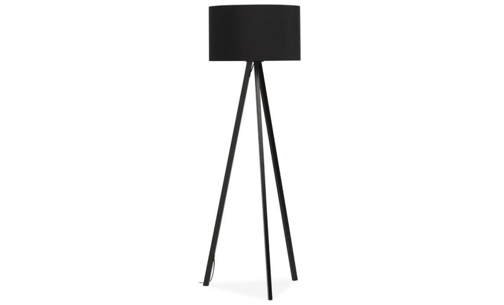 lampadaire tr pied 39 spring 39 avec abat jour noir et 3 pieds. Black Bedroom Furniture Sets. Home Design Ideas