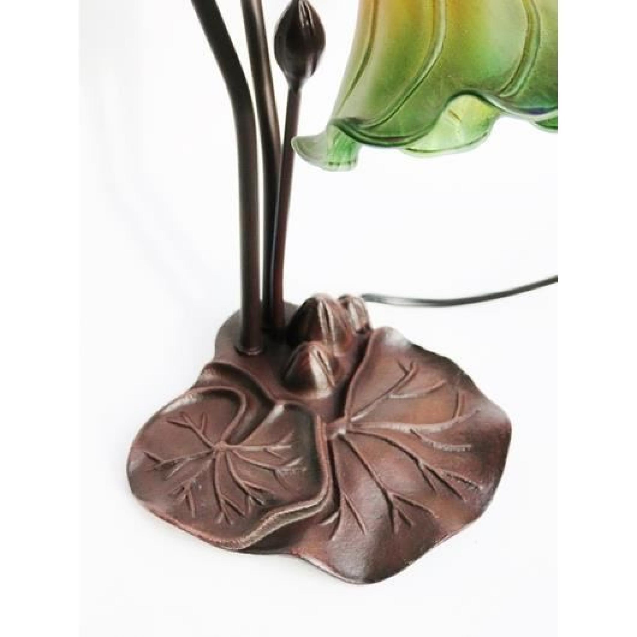 Et Métal Couleur Lampe Tulipes Jaune Verre 2 Pied Feuillage Tiffany Style En Verte 5LqA34Rj