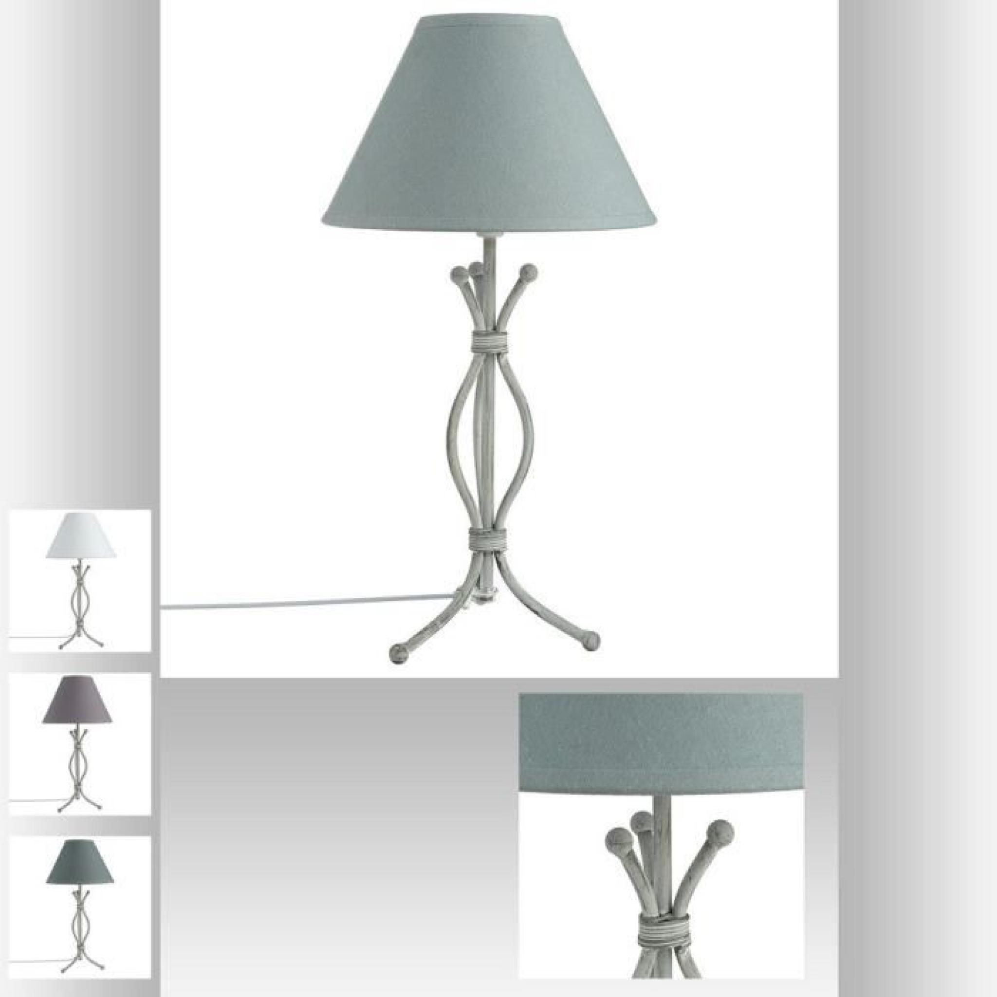 Lampe 45cm pieds m tal torsad blanc avec abat jour gris for Lampe a pied pas cher