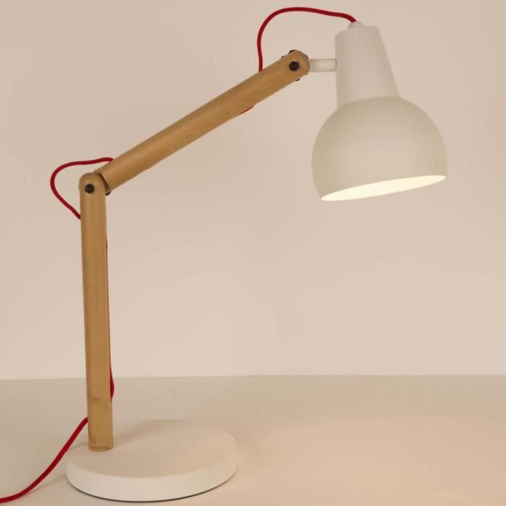 lampe poser bois m tal study couleur blanc achat vente lampe a poser pas cher couleur et. Black Bedroom Furniture Sets. Home Design Ideas