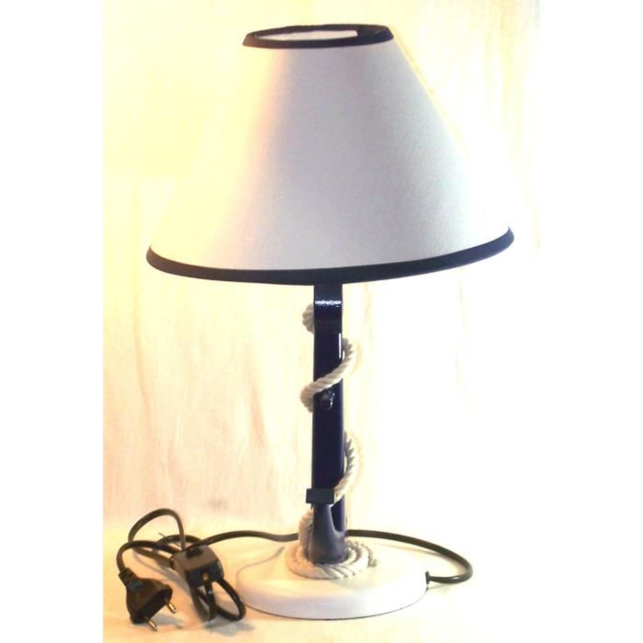 Lampe ancre de marine et cordage Achat Vente lampe a poser pas cher Couleur et design