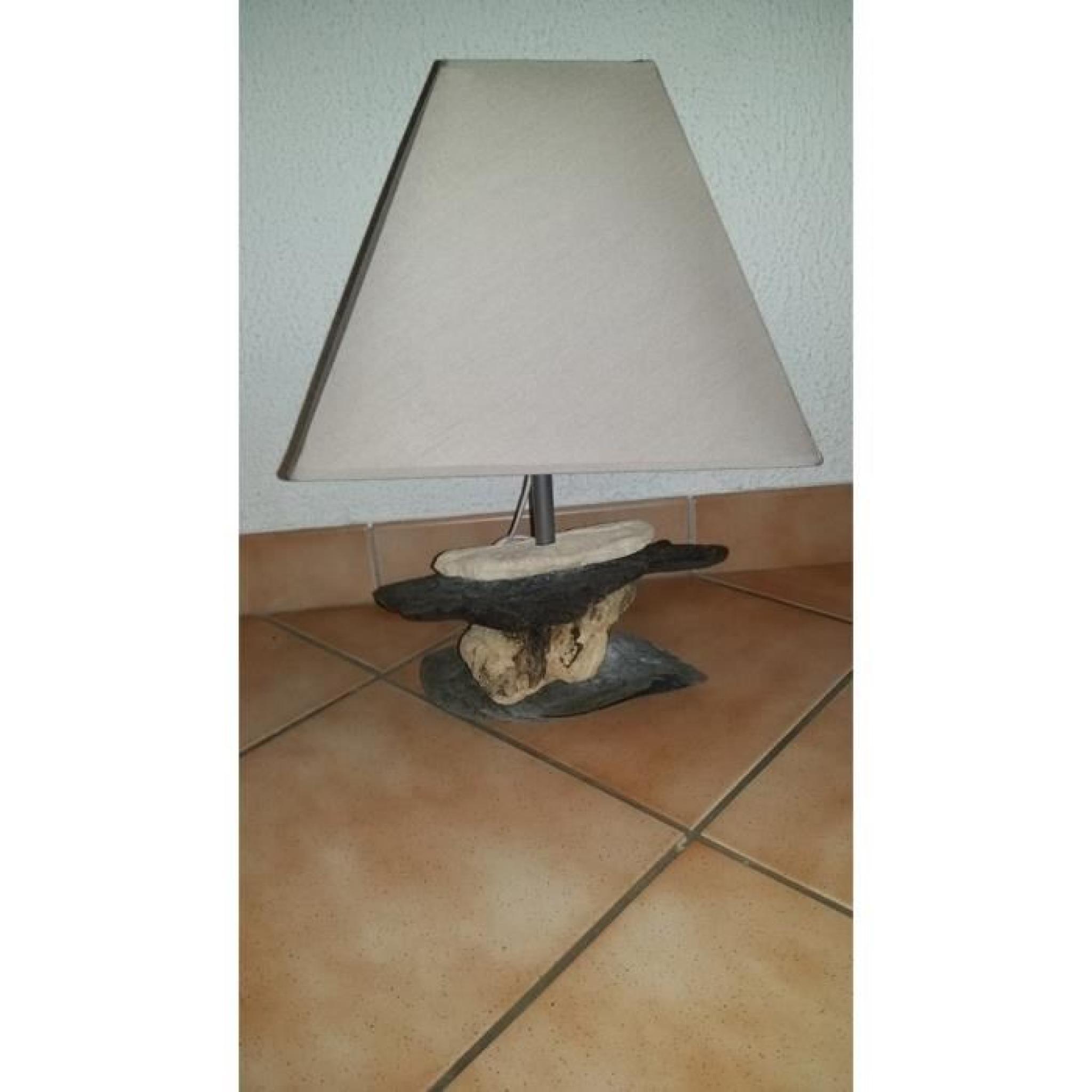 Haut Pied De Lampe Bois Flotte Chevet Roche 44cm 29eEDHYWI