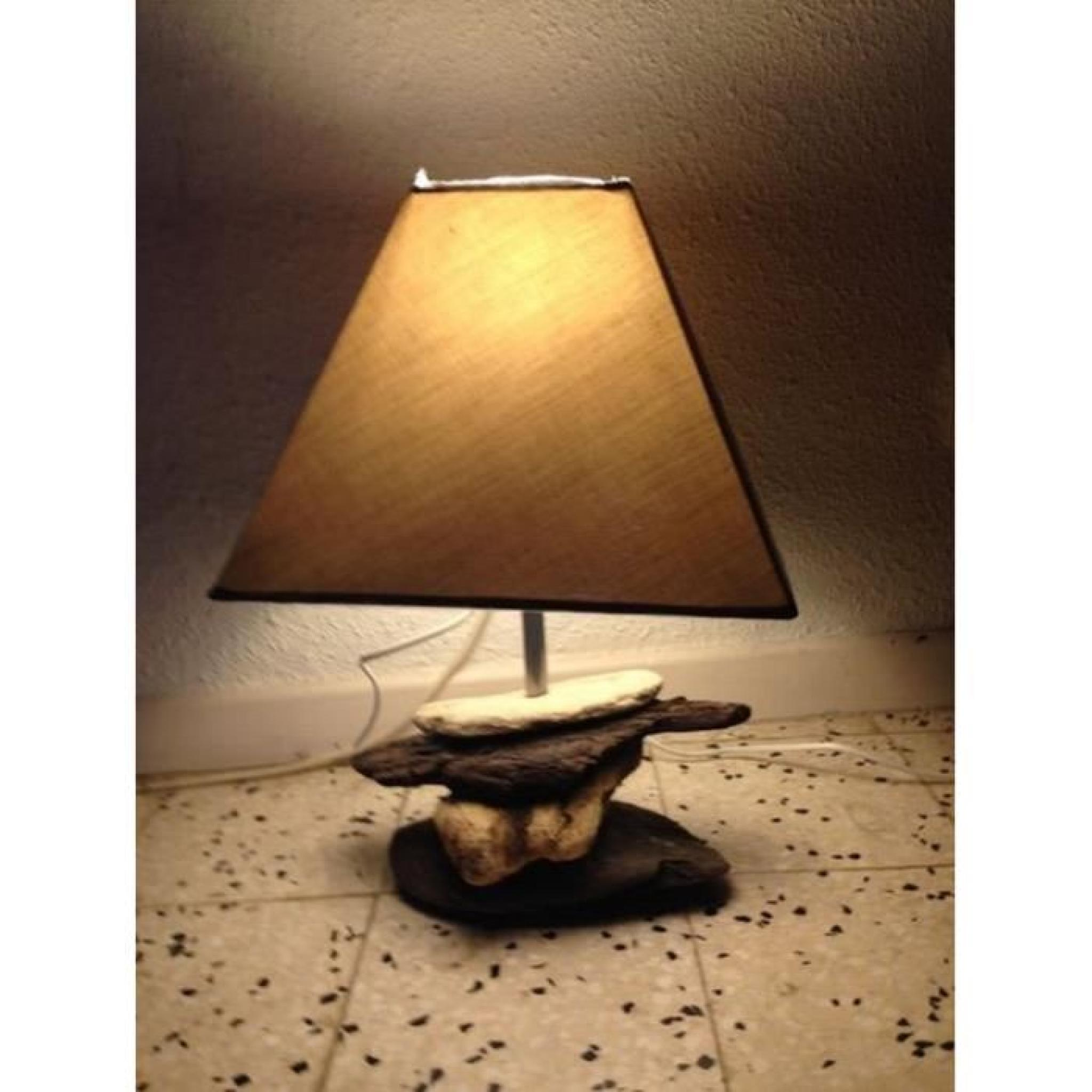 lampe de chevet bois flotte 44cm haut pied roche achat. Black Bedroom Furniture Sets. Home Design Ideas