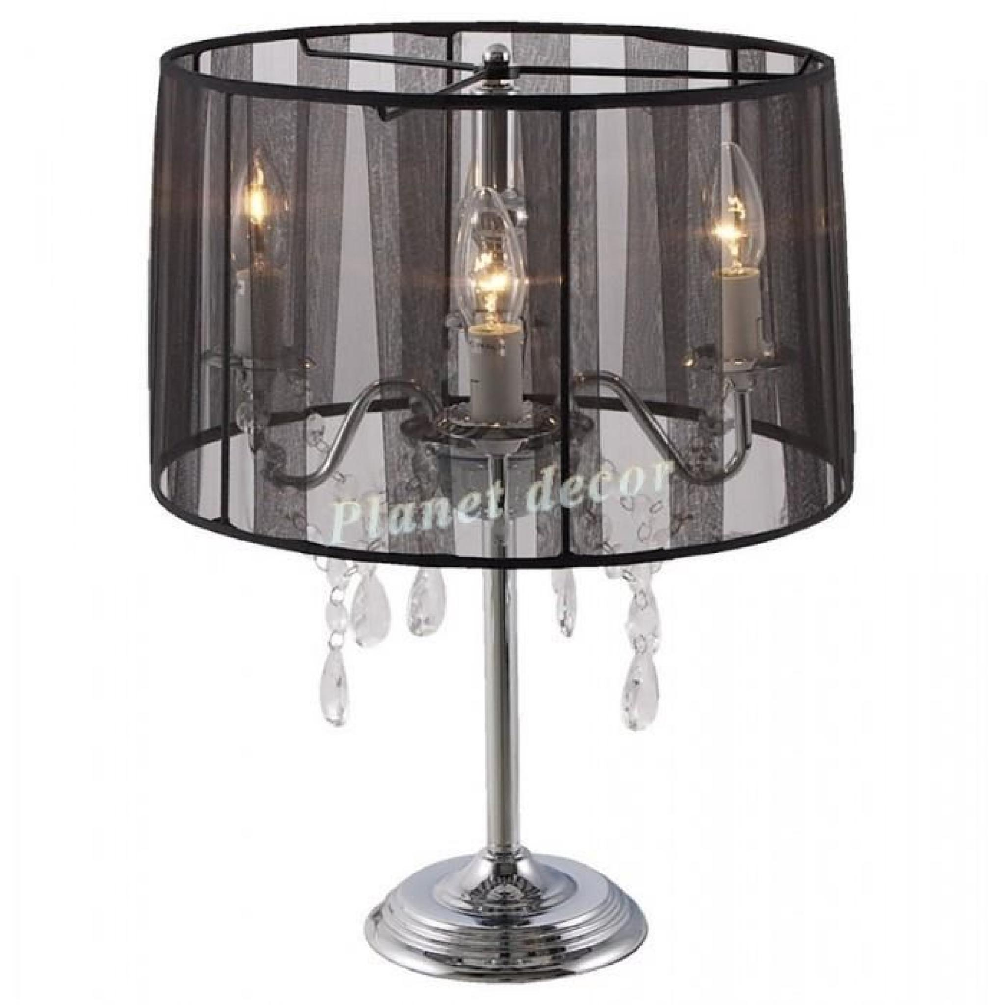 lampe de chevet noire chandelier baroque noir achat vente lampe a poser pas cher couleur et. Black Bedroom Furniture Sets. Home Design Ideas