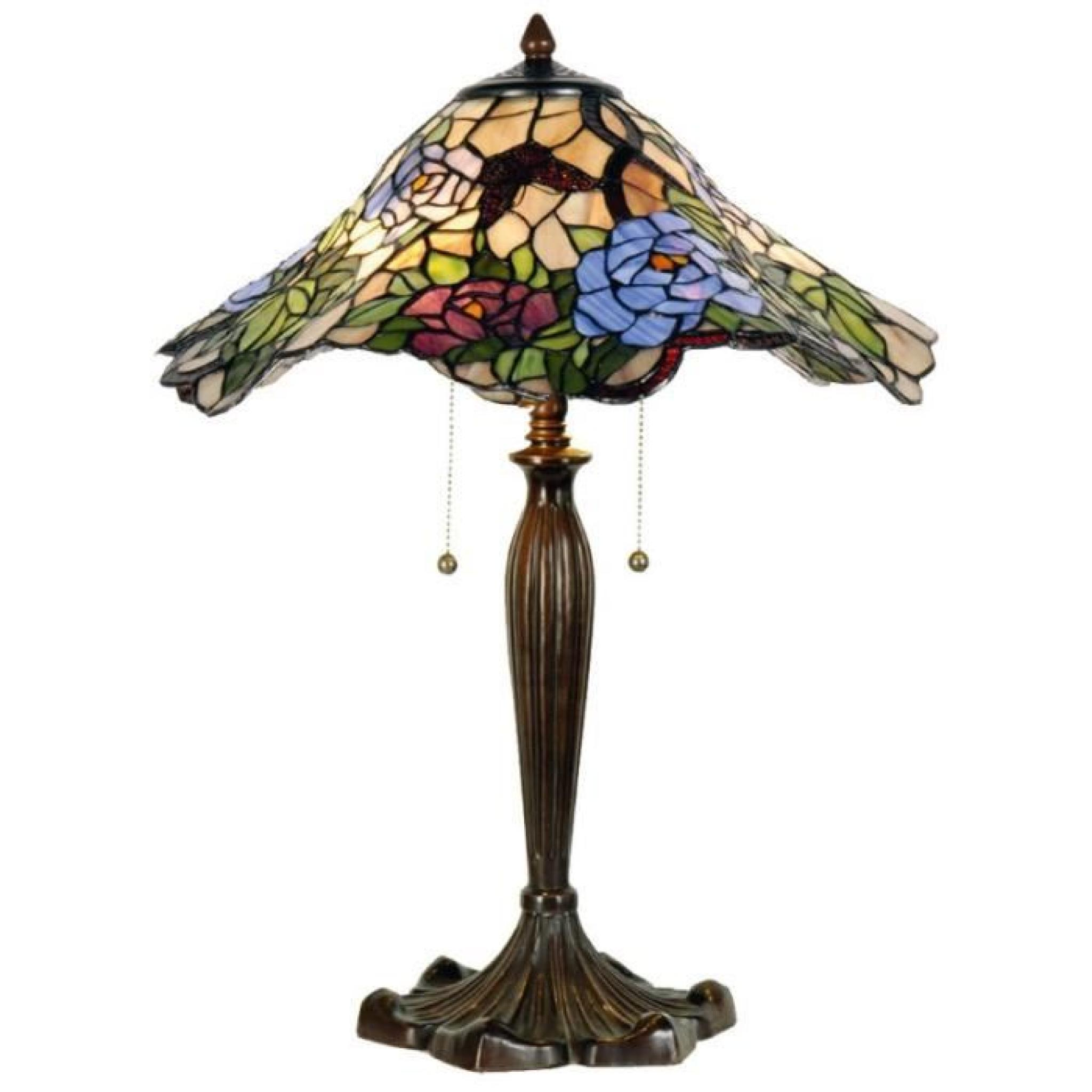 Style Lampe Abat Ondule Hauteur Jour Tiffany Metal 60cm De Verre q5Aj34LR