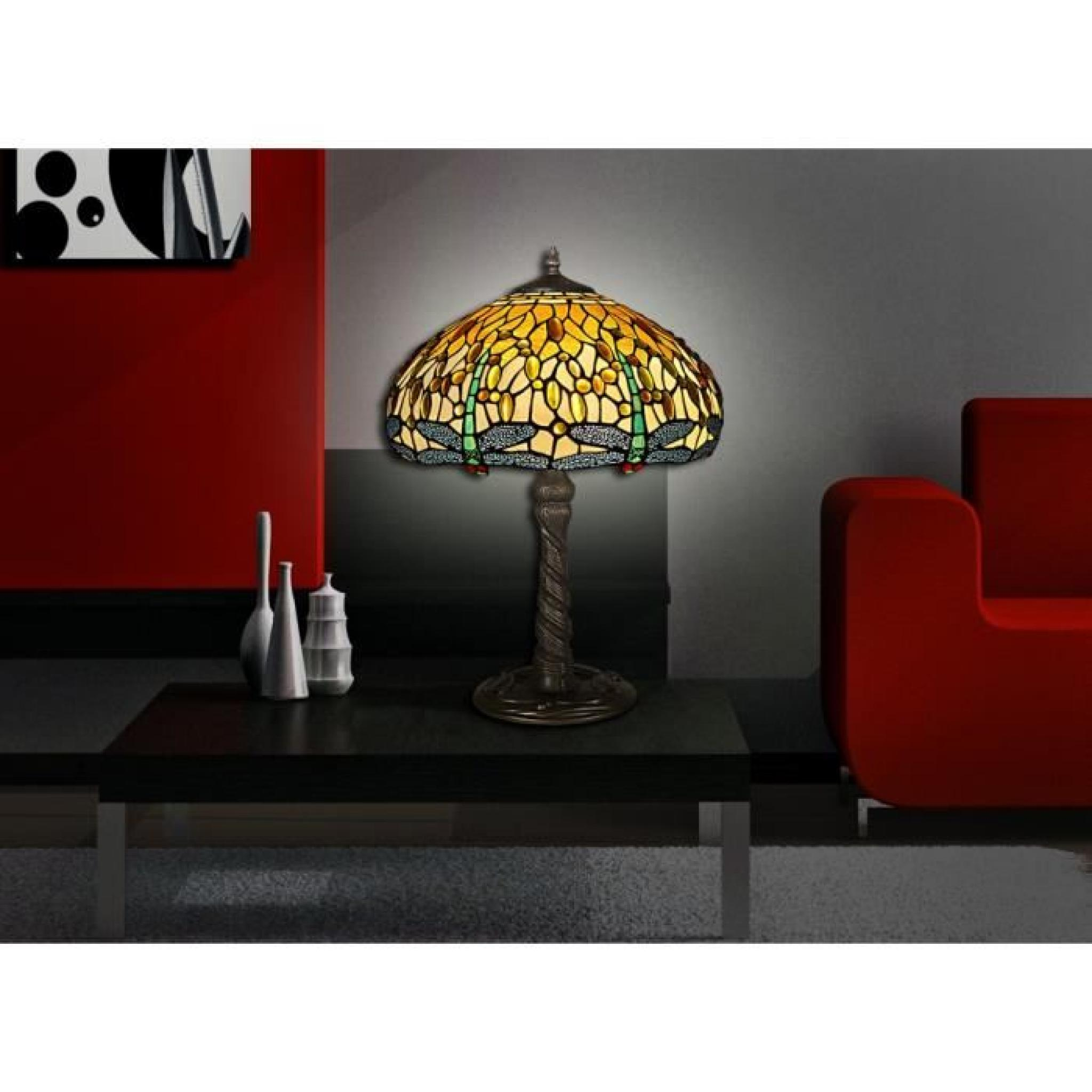 lampe de table libellule style tiffany avec base de m tallique bronz achat vente lampe a. Black Bedroom Furniture Sets. Home Design Ideas