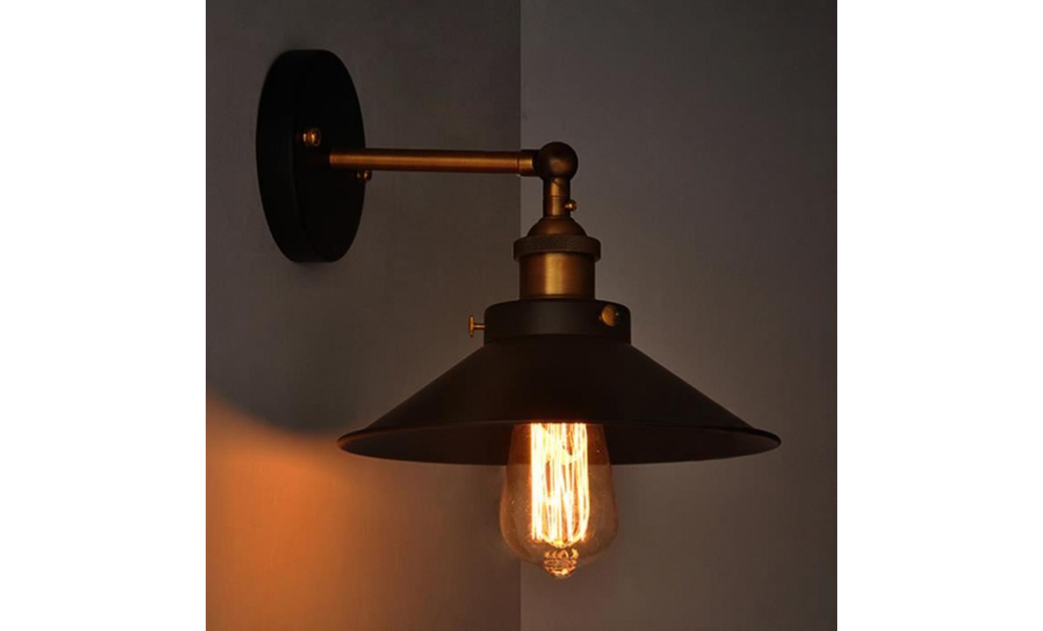 Lampe industrielle black metal umbrella vintage loft mur luminaires
