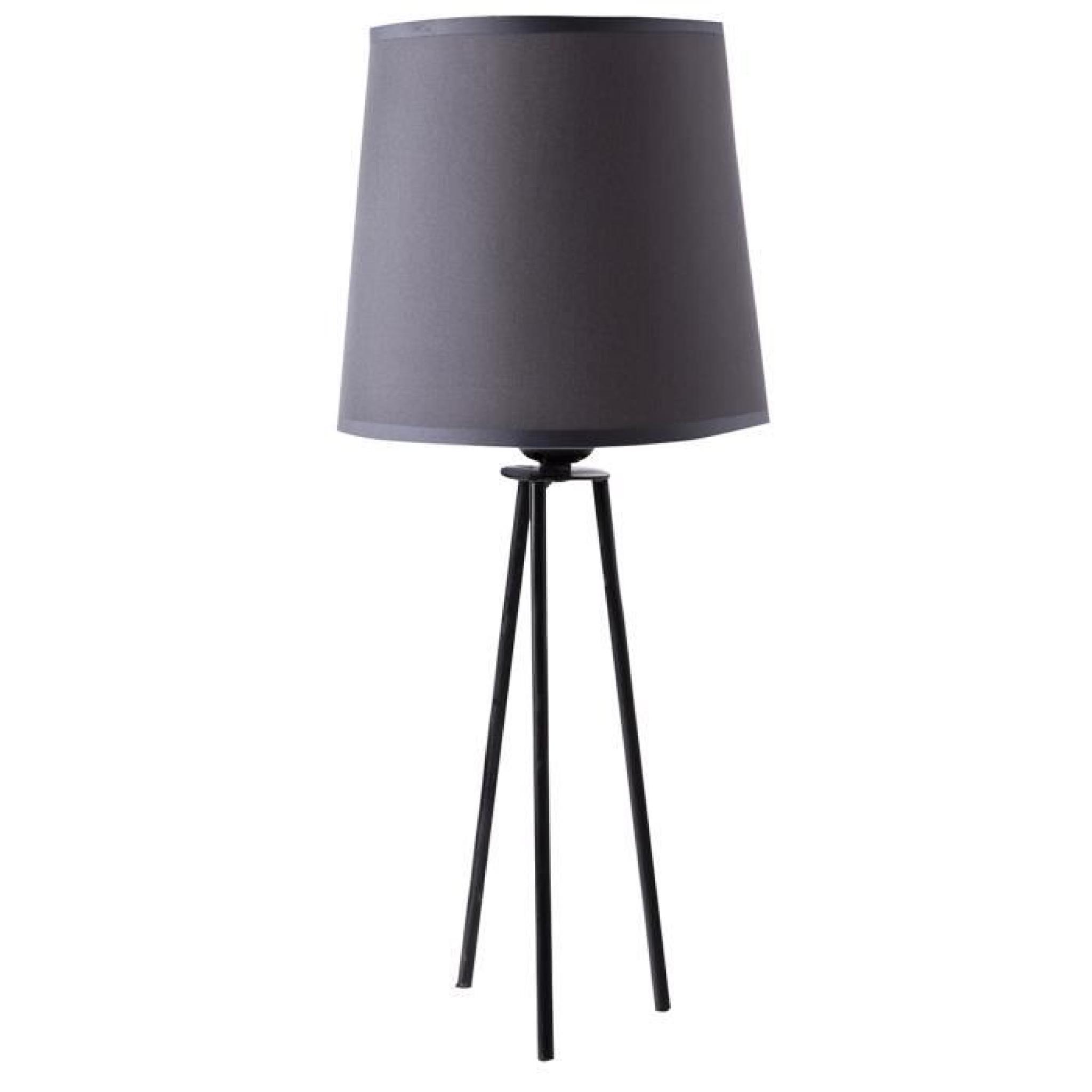 Lampe trépied métal abat jour gris 20x20x44cm