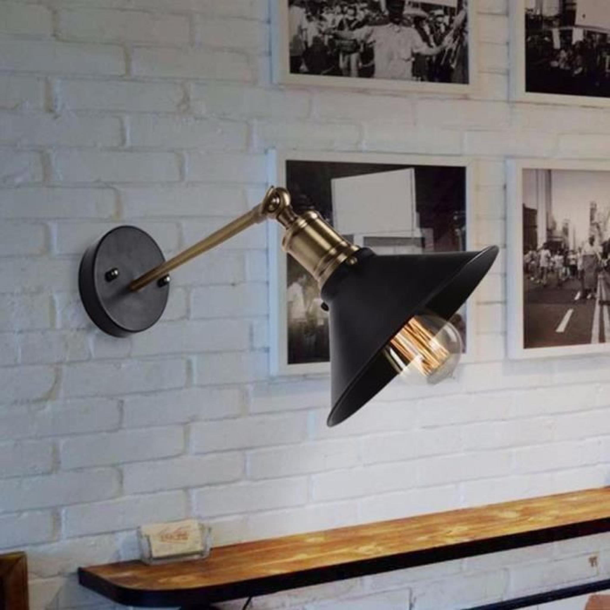 Lampe vintage black metal umbrella loft mur luminaires rétro ...