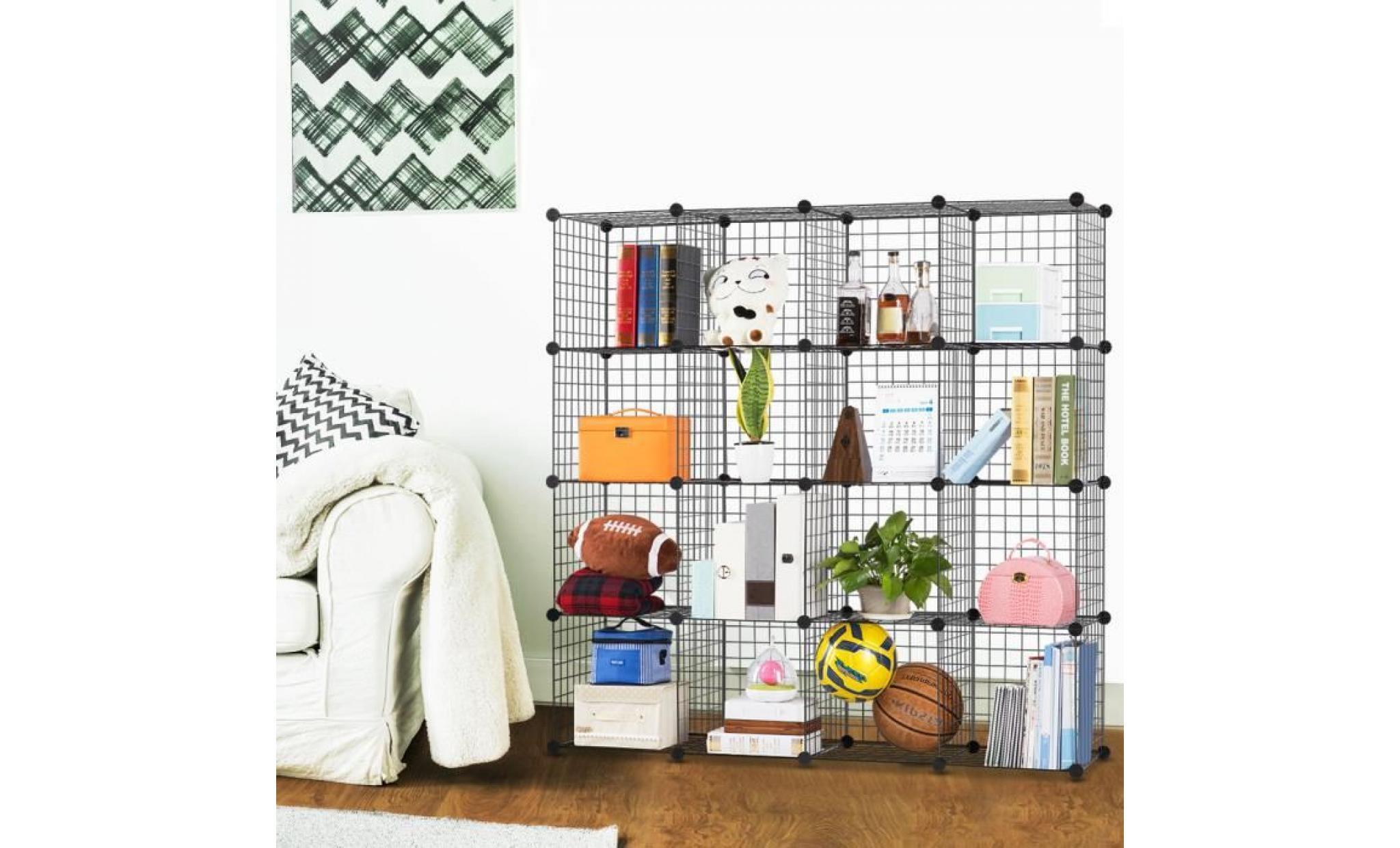 langria 16 cubes armoires grilles métalliques meuble rangement chambre
