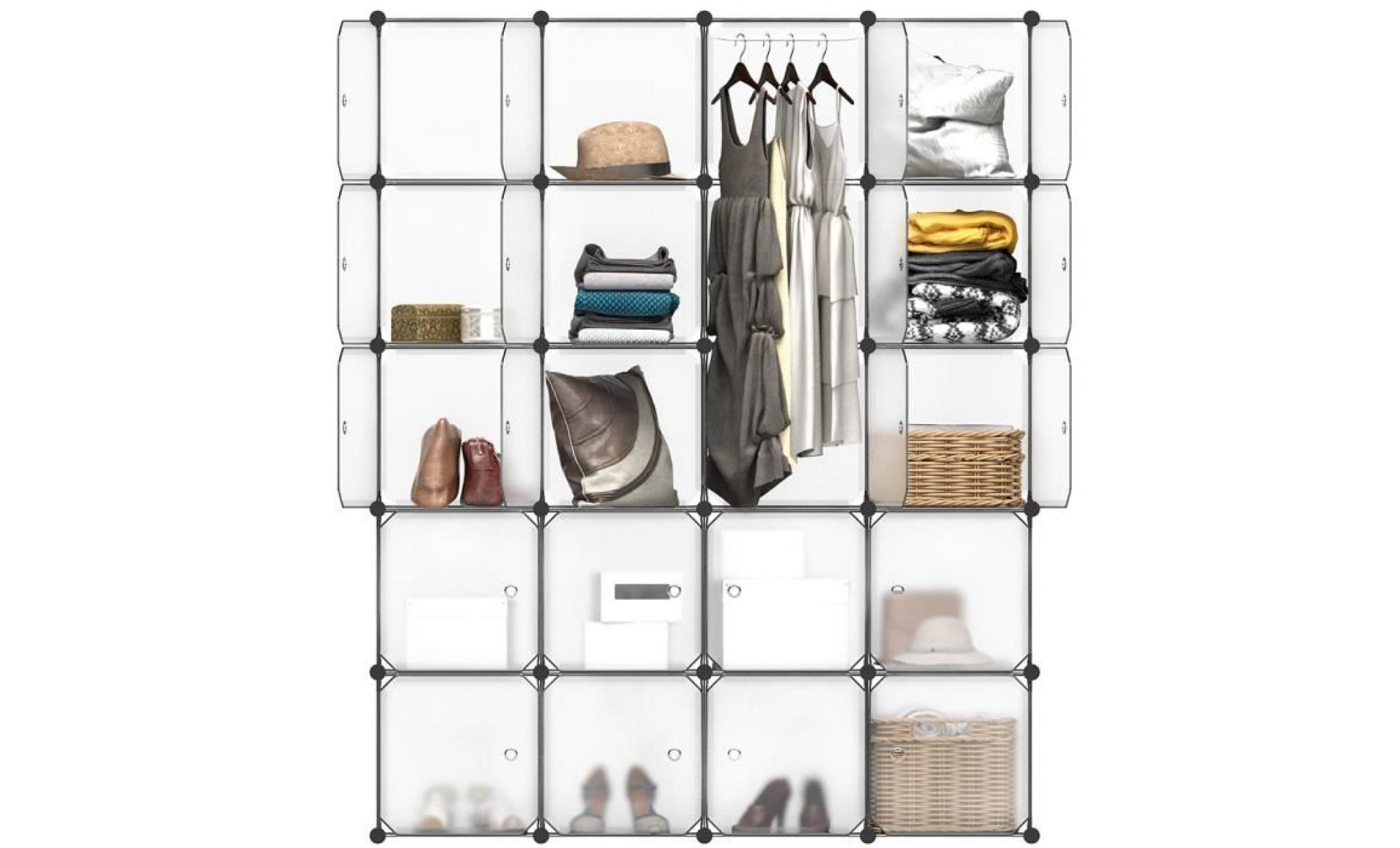 Langria 20 Armoire De Chambre Cubes Meuble étagères De Rangement Plastique Pour Chaussures Vêtements Jouets Translucide Blanc