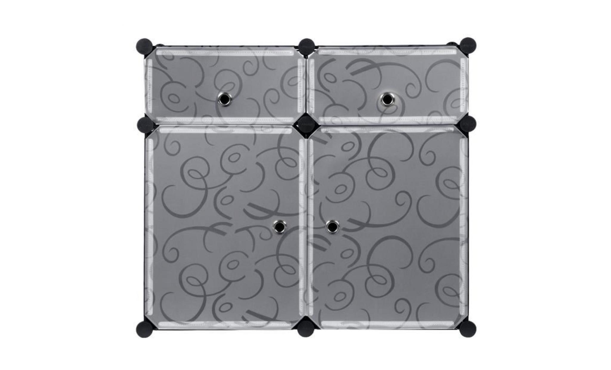 langria 4 cubes diy armoires Étagères plastique placard meuble rangement  table de chevet chambre organisation modulaire avec portes