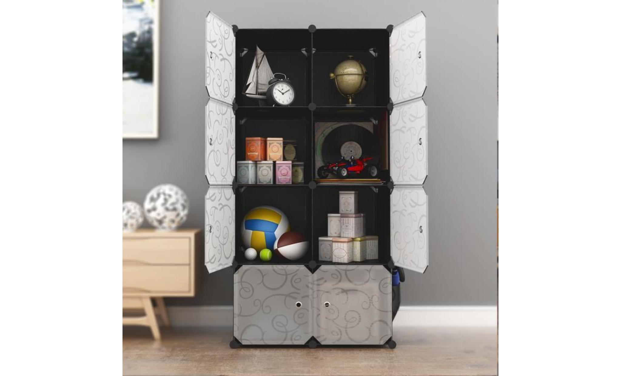 Langria 8 Cube Penderie Armoire De Chambre Etagere De Rangement Modulaire Meuble Translucide Noir Et Blanc
