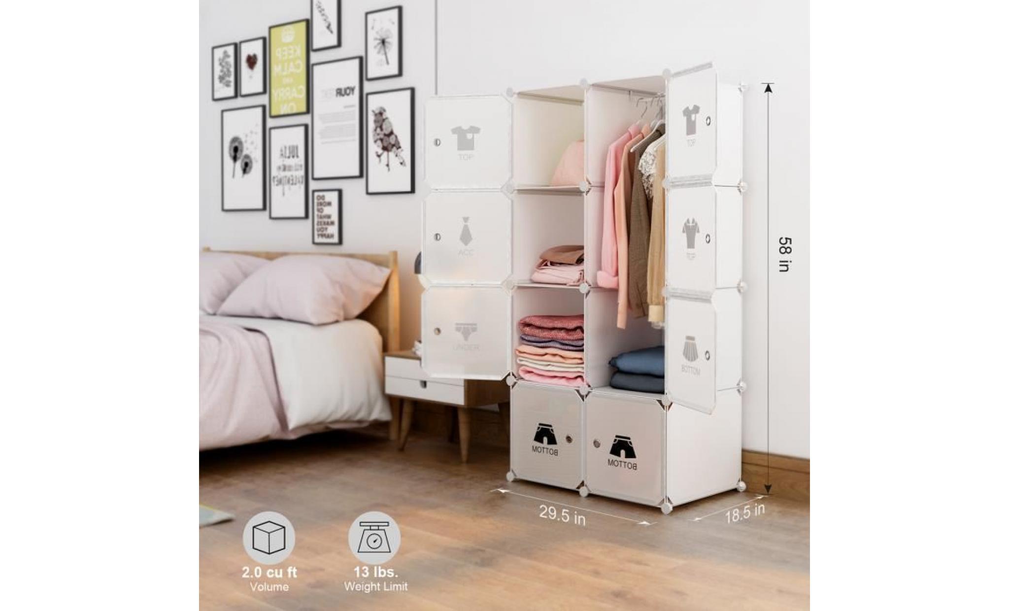 Plastique Chambre Armoire De Modulable Penderie 8 Cube Langria 6yYbvfI7g