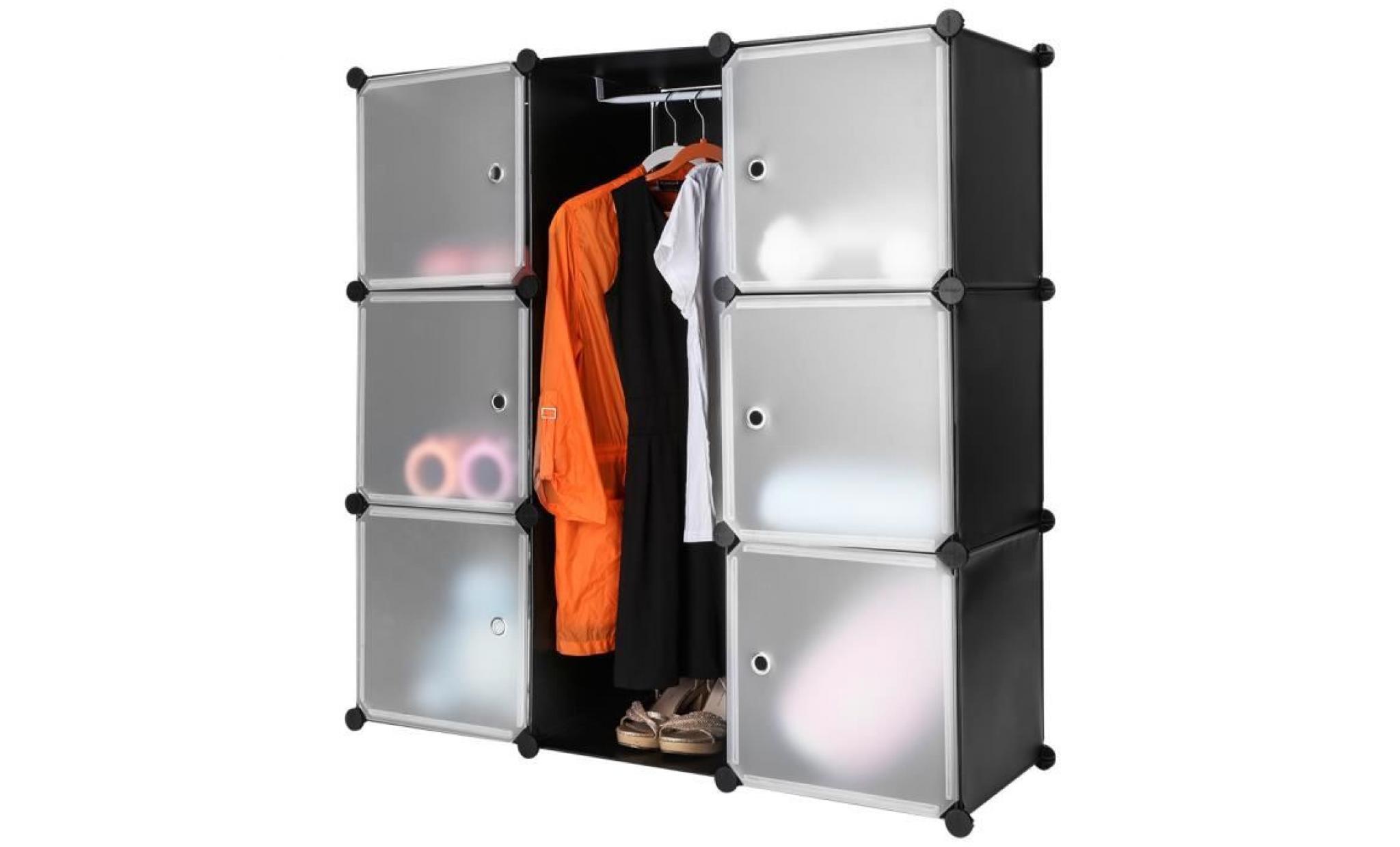 Langria 9 Cabines Armoire Plastique Translucide étagères Idéal Pour Vêtements Jouets Accessoires