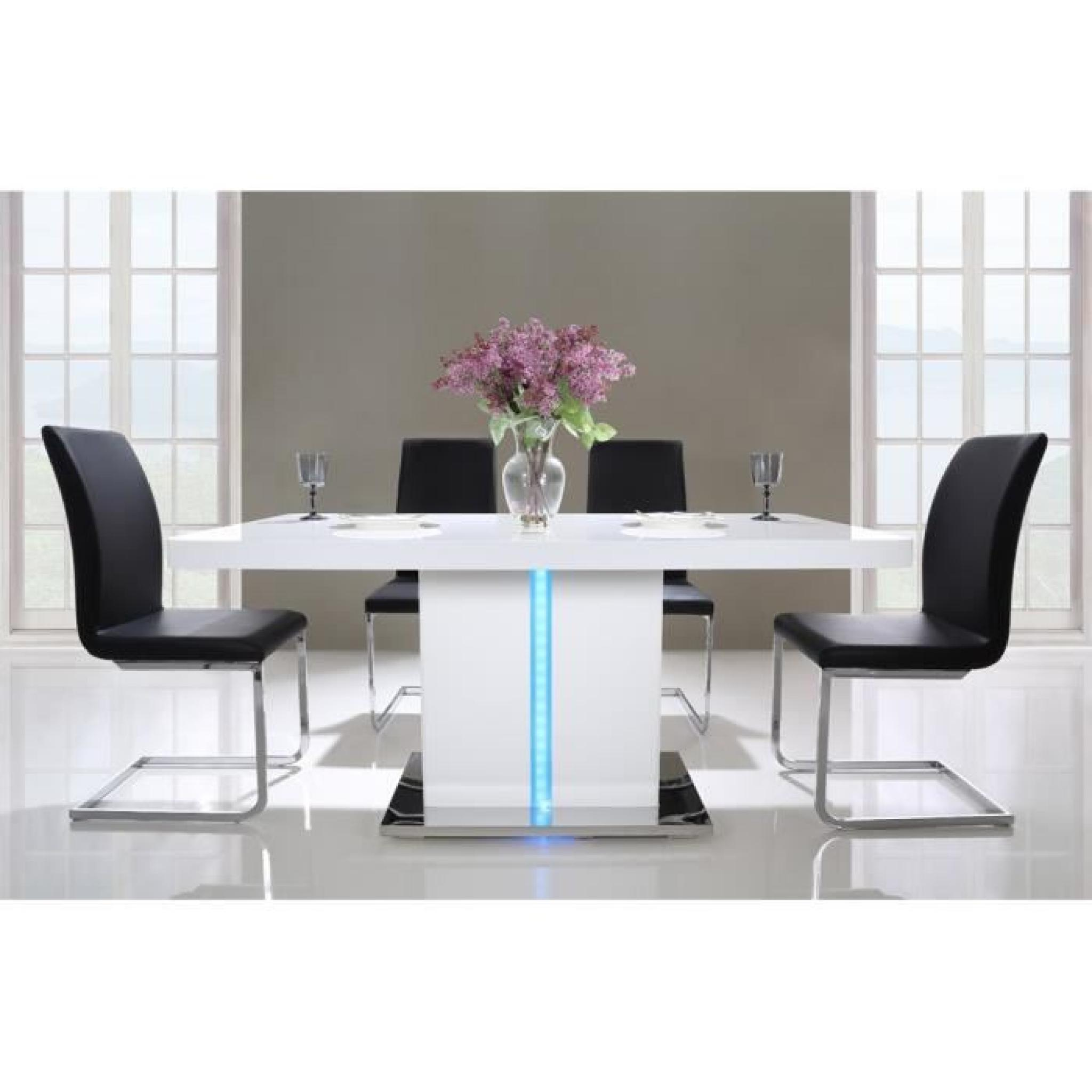Laser table manger 160cm laqu blanc brillant avec led multicolore achat vente table salle a for Table laque 8 places