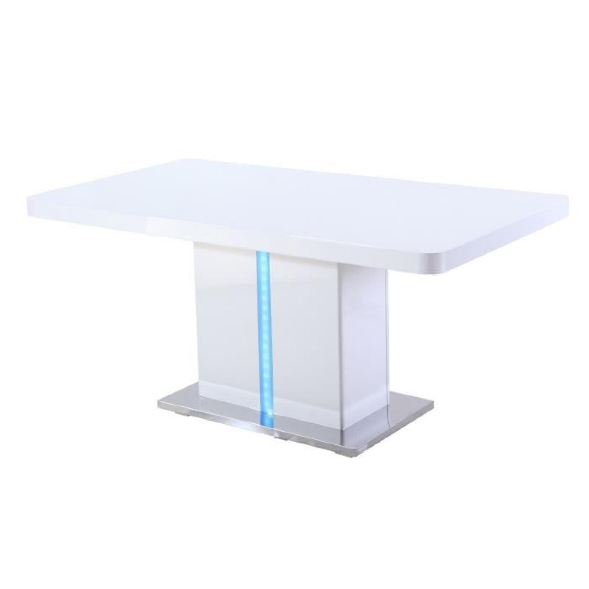 Laser table manger 160cm laqu blanc brillant avec led for Ensemble table et chaise blanc laque pas cher