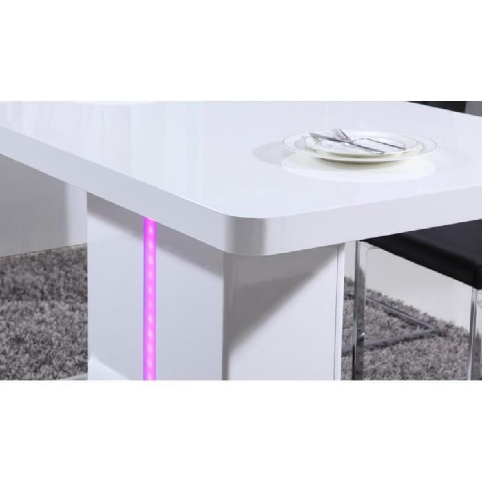 Laser table manger 160cm laqu blanc brillant avec led - Table a manger style industriel pas cher ...