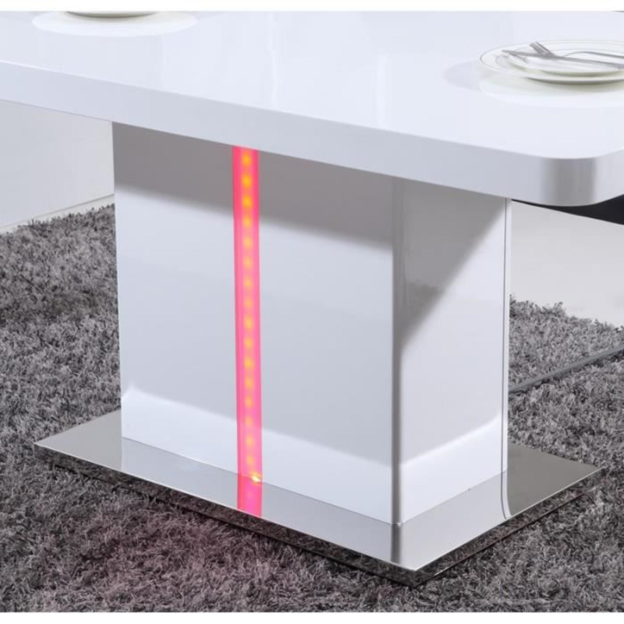 LASER Table à manger 160cm laqué blanc brillant avec LED multicolore