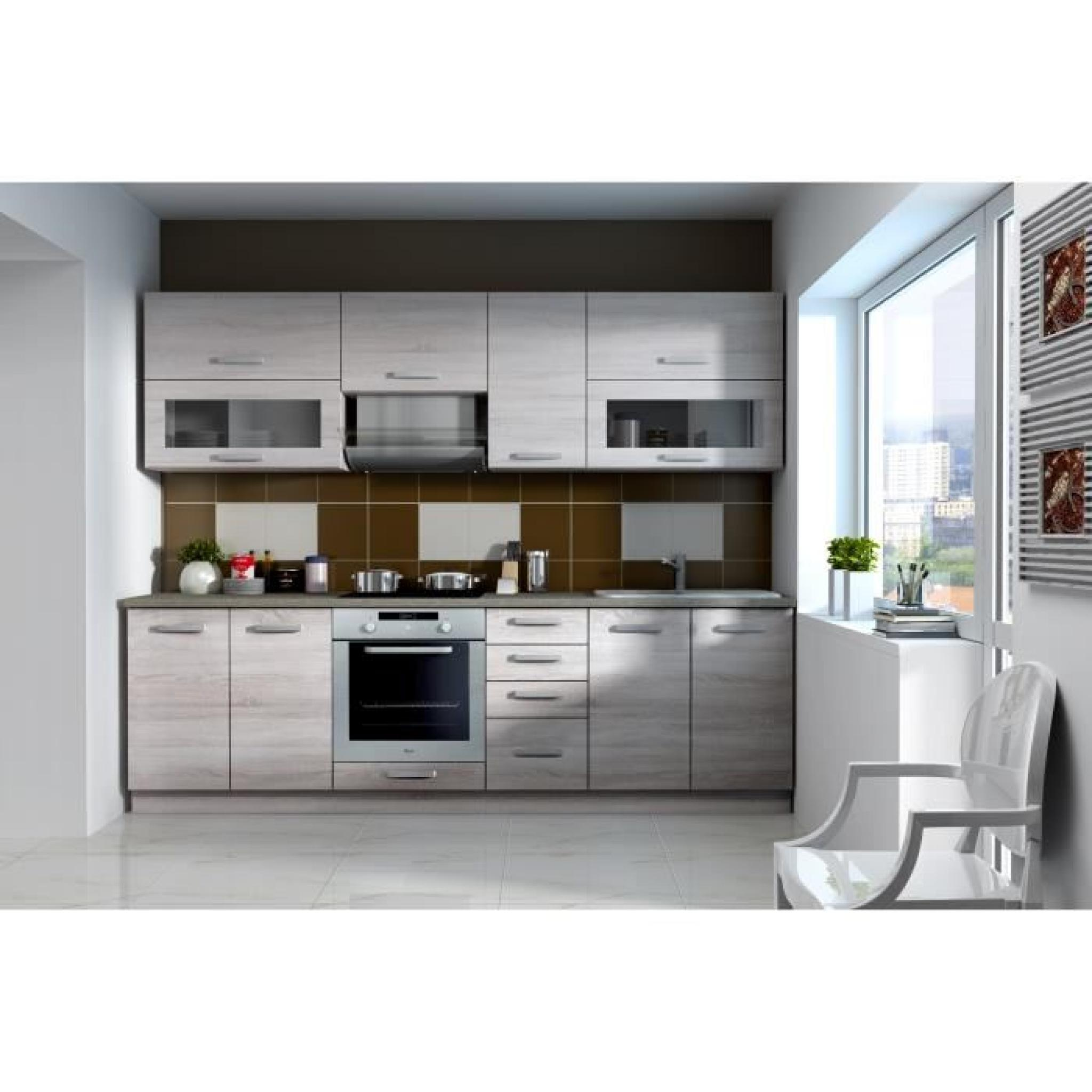 lassen cuisine compl te 2m60 d cor ch ne clair sonoma achat vente cuisine complete pas cher. Black Bedroom Furniture Sets. Home Design Ideas