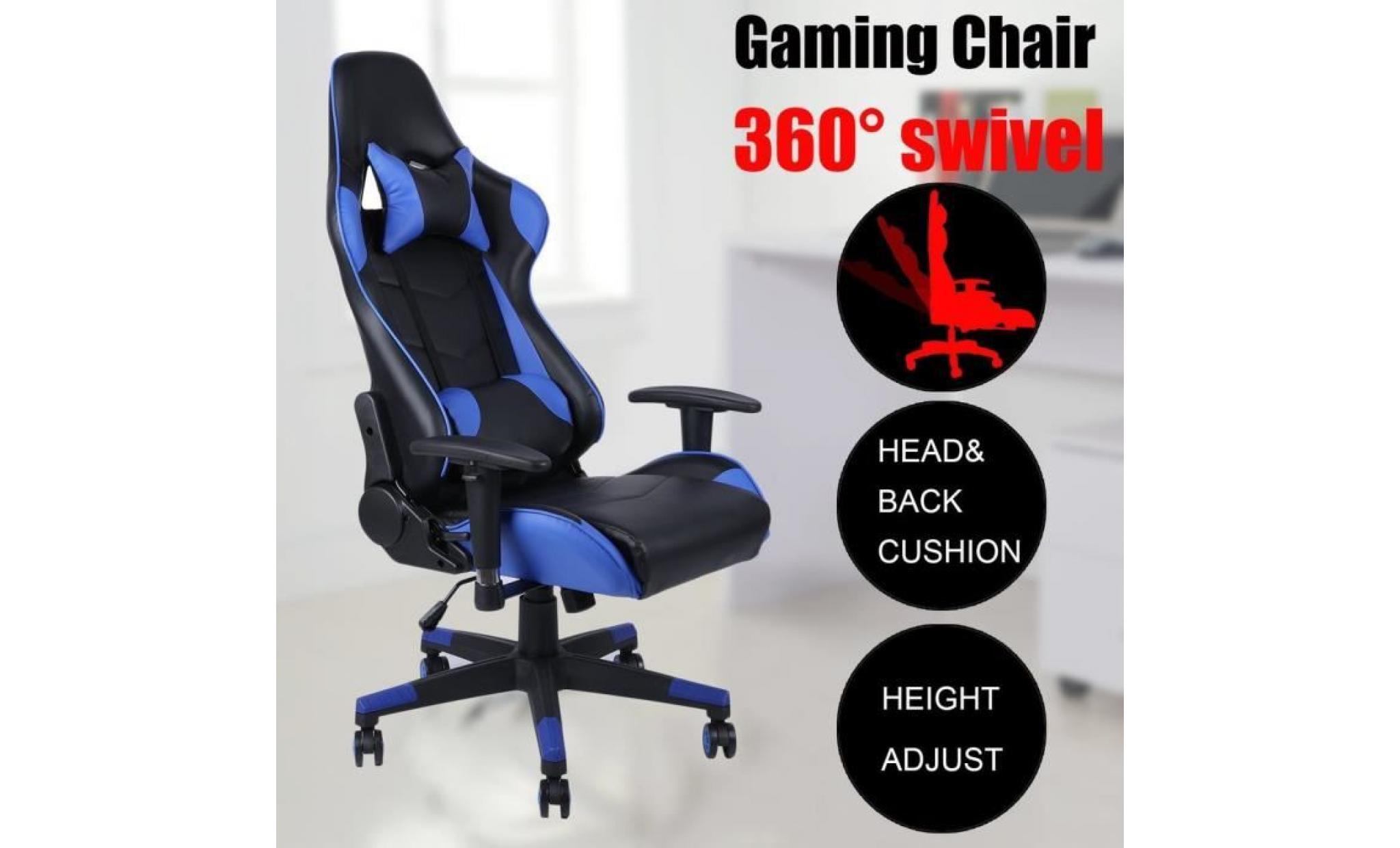 leshp fauteuil de bureau 135°anti fatigue gamer design modern ergonomique chaise de jeu avec graduit poupée oreiller