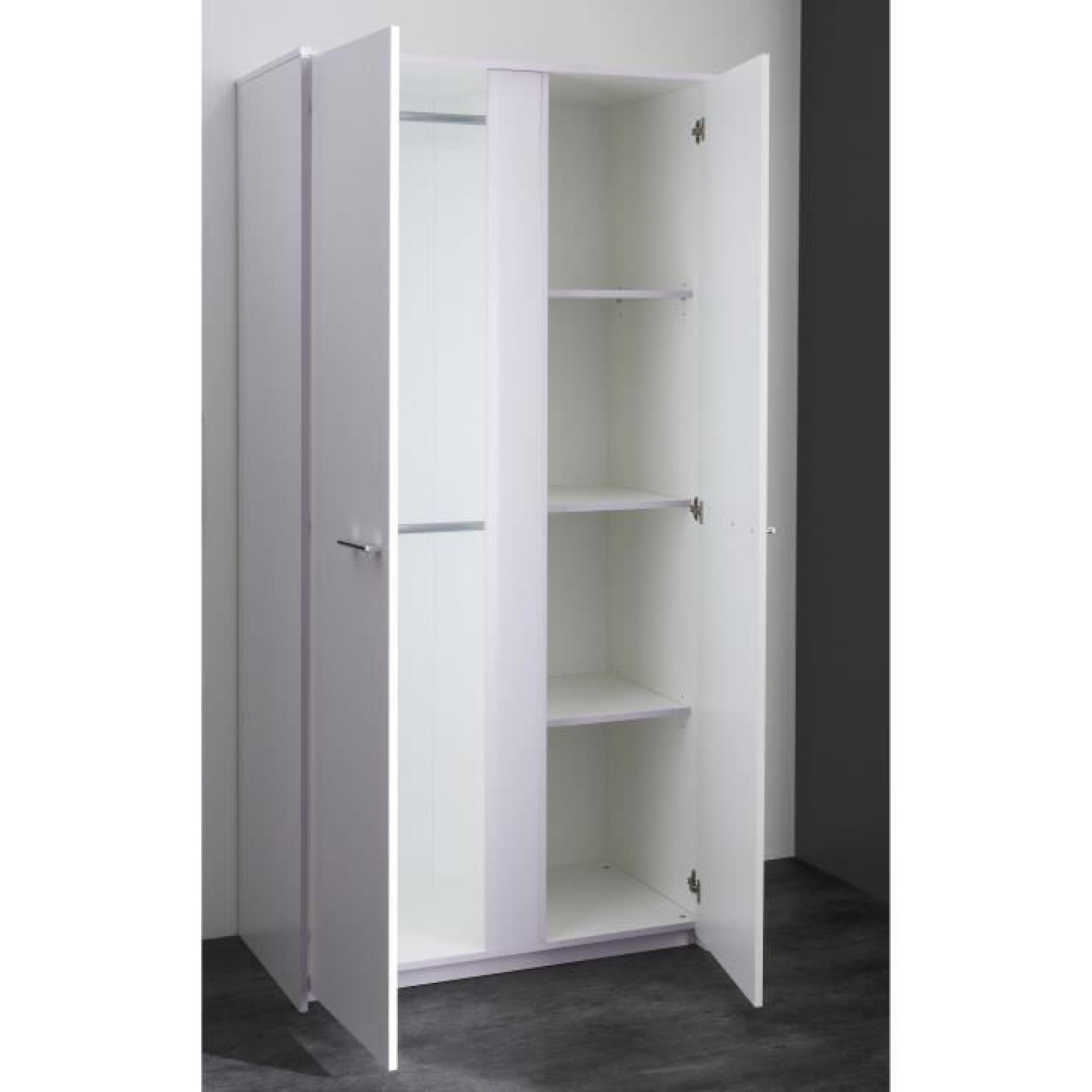 lina armoire 2 portes blanc parme achat vente armoire de. Black Bedroom Furniture Sets. Home Design Ideas