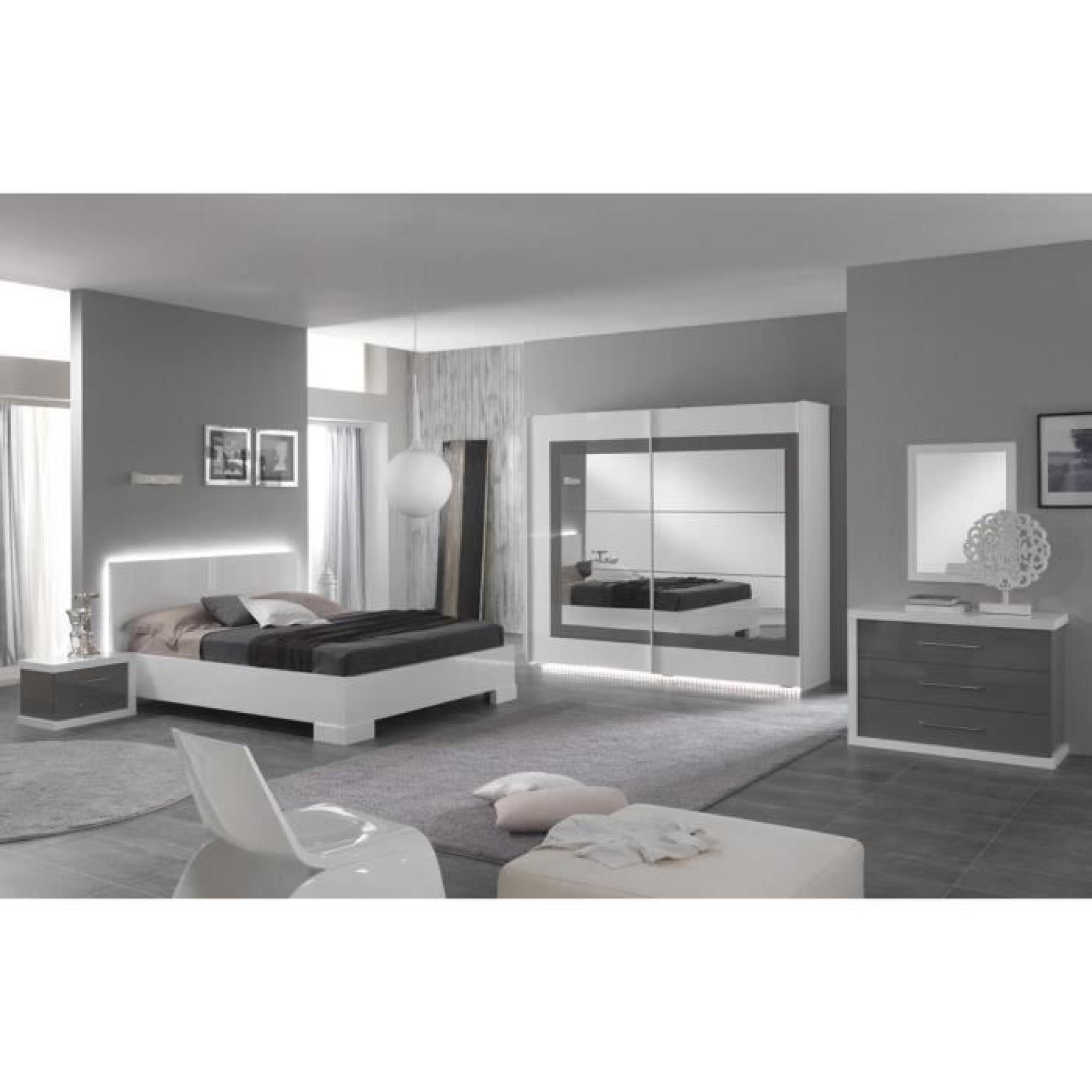 lit adulte 160x200 blanc laqu avec clairage led achat vente lit pas cher couleur et. Black Bedroom Furniture Sets. Home Design Ideas