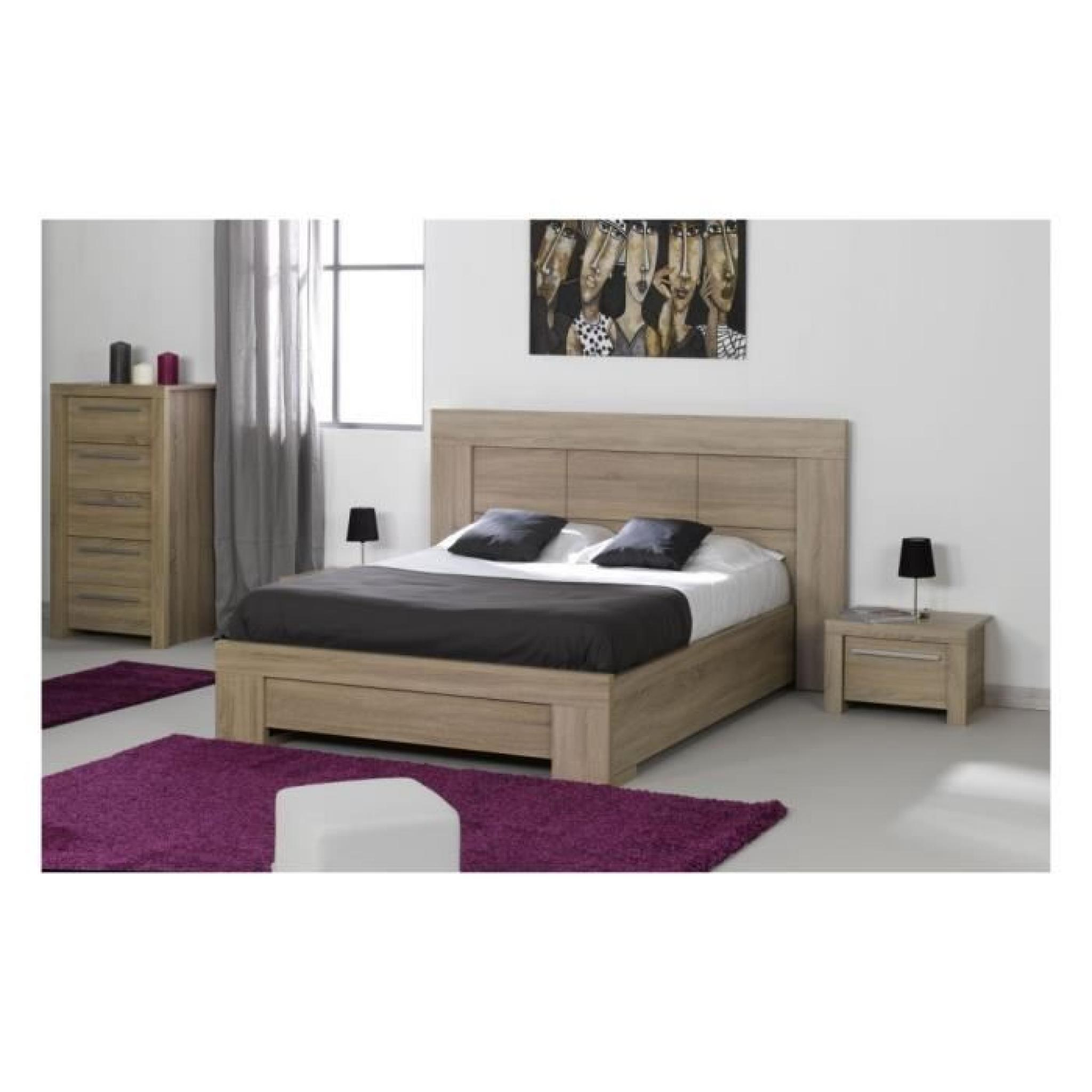 lit adulte 160x200 ana gris achat vente lit pas cher. Black Bedroom Furniture Sets. Home Design Ideas