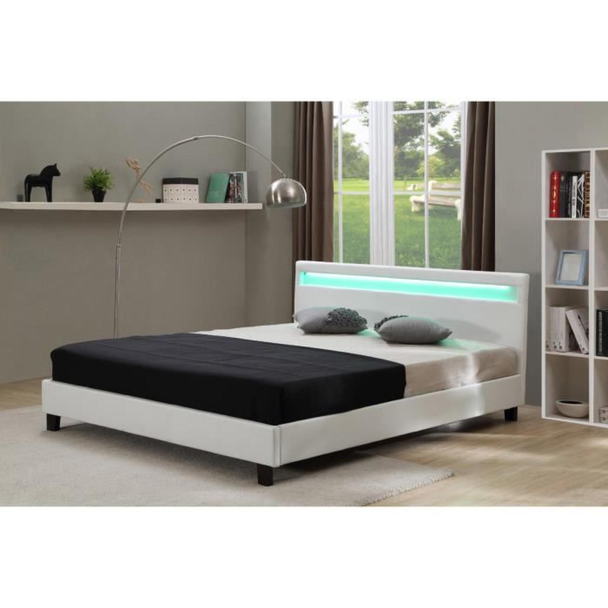 lit avec led maria blanc 140 x 190 cm achat vente lit pas cher couleur et. Black Bedroom Furniture Sets. Home Design Ideas