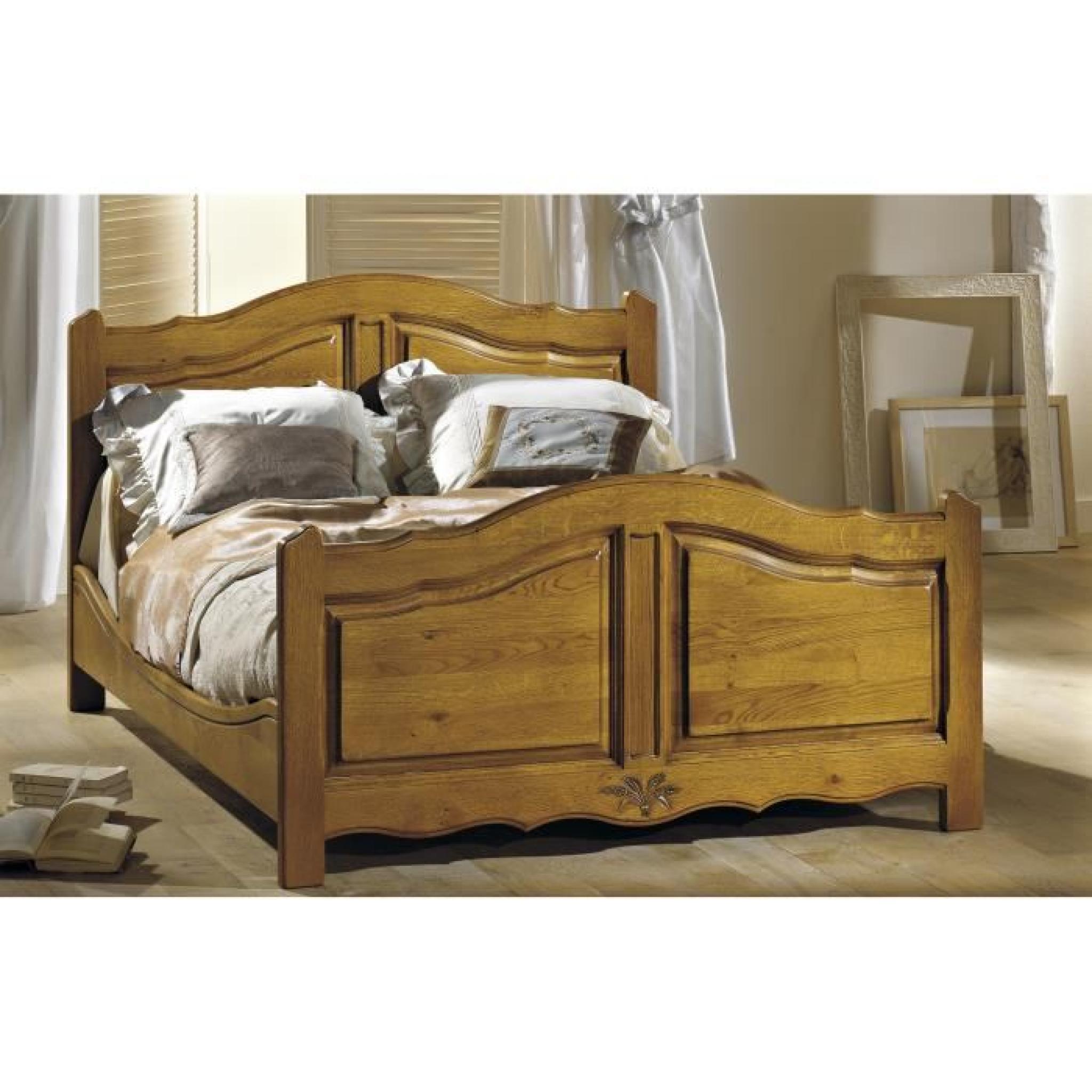 lit chene massif modele jura 160 x 200 achat vente lit pas cher couleur et. Black Bedroom Furniture Sets. Home Design Ideas