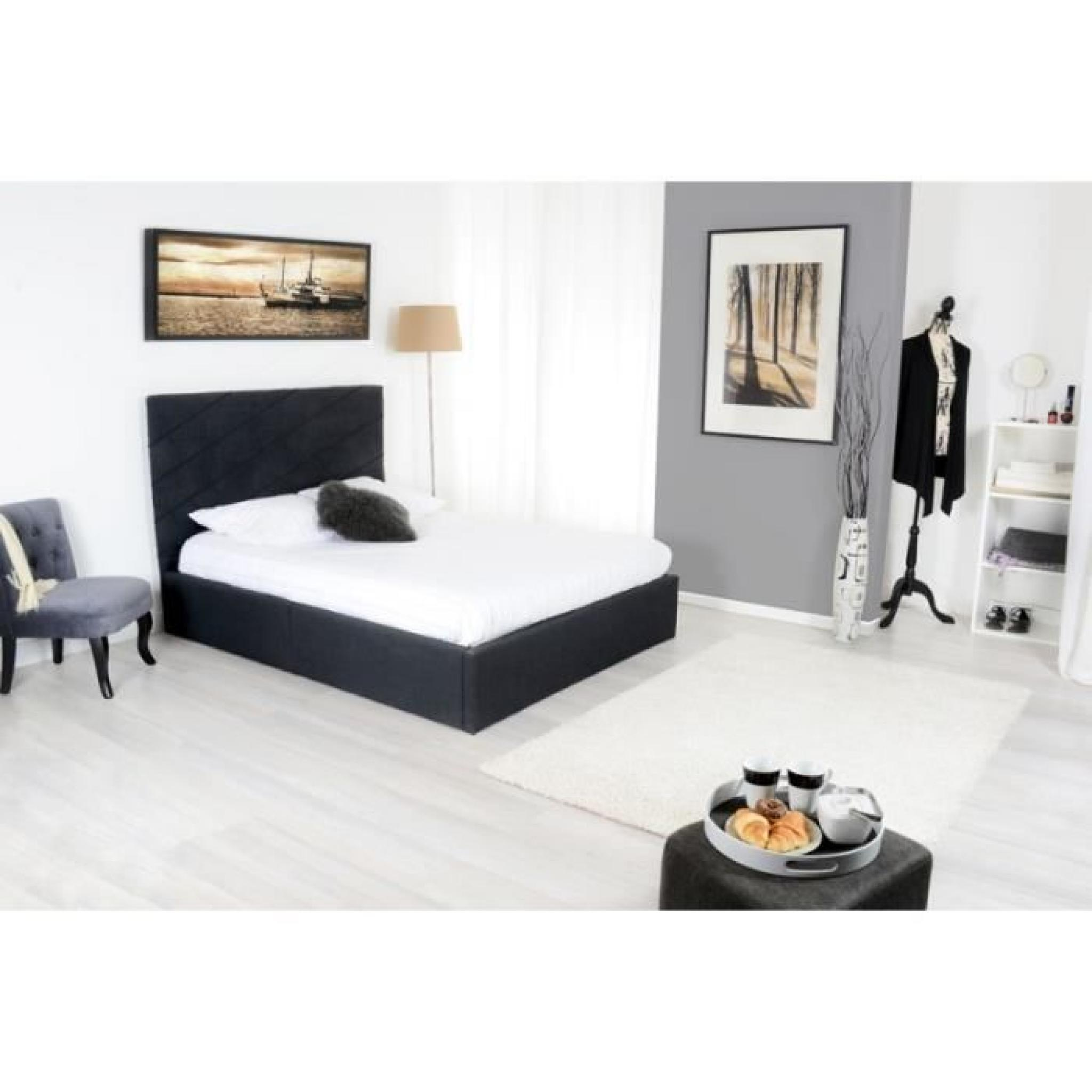 diag lit coffre adulte 160x200 cm sommier gris achat vente lit pas cher. Black Bedroom Furniture Sets. Home Design Ideas