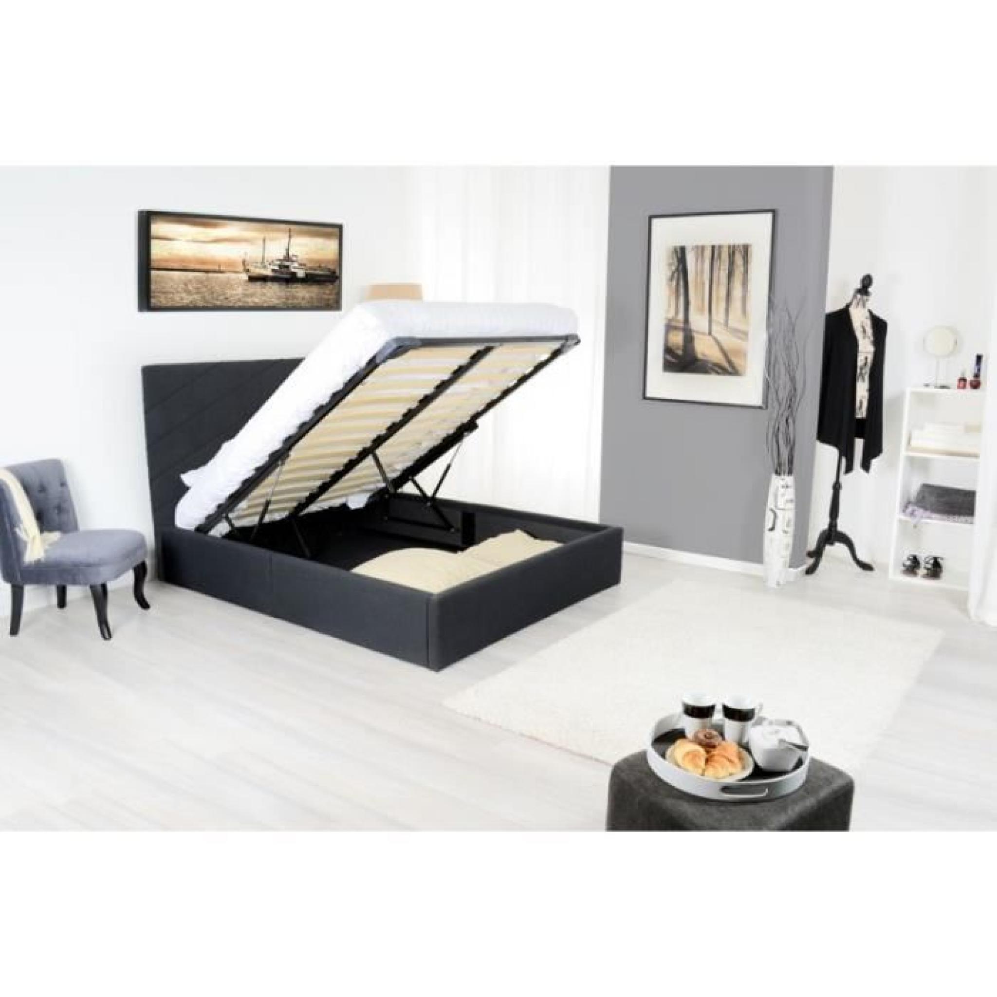 diag lit coffre adulte 160x200 cm sommier gris achat. Black Bedroom Furniture Sets. Home Design Ideas