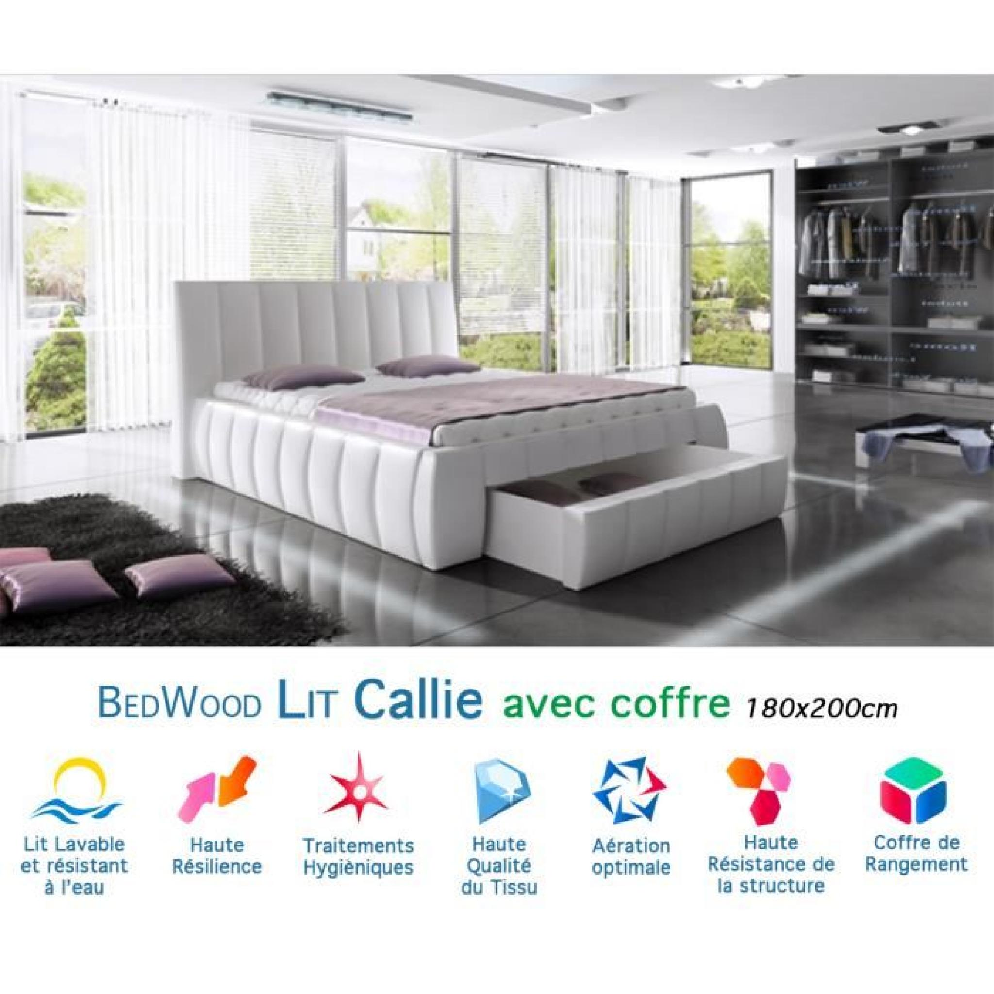 lit design avec coffre de rangement bedwood callie 140x200cm achat vente lit pas cher. Black Bedroom Furniture Sets. Home Design Ideas
