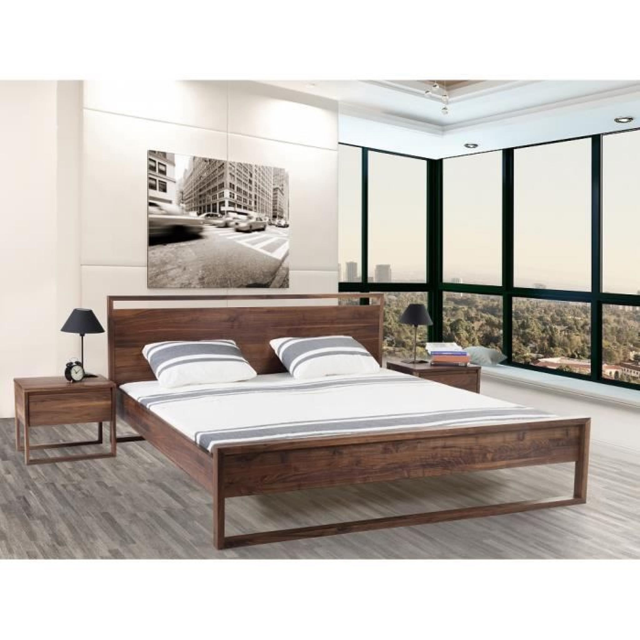 lit design en bois lit double 160x200 cm sommier inclus giulia achat vente lit pas cher. Black Bedroom Furniture Sets. Home Design Ideas