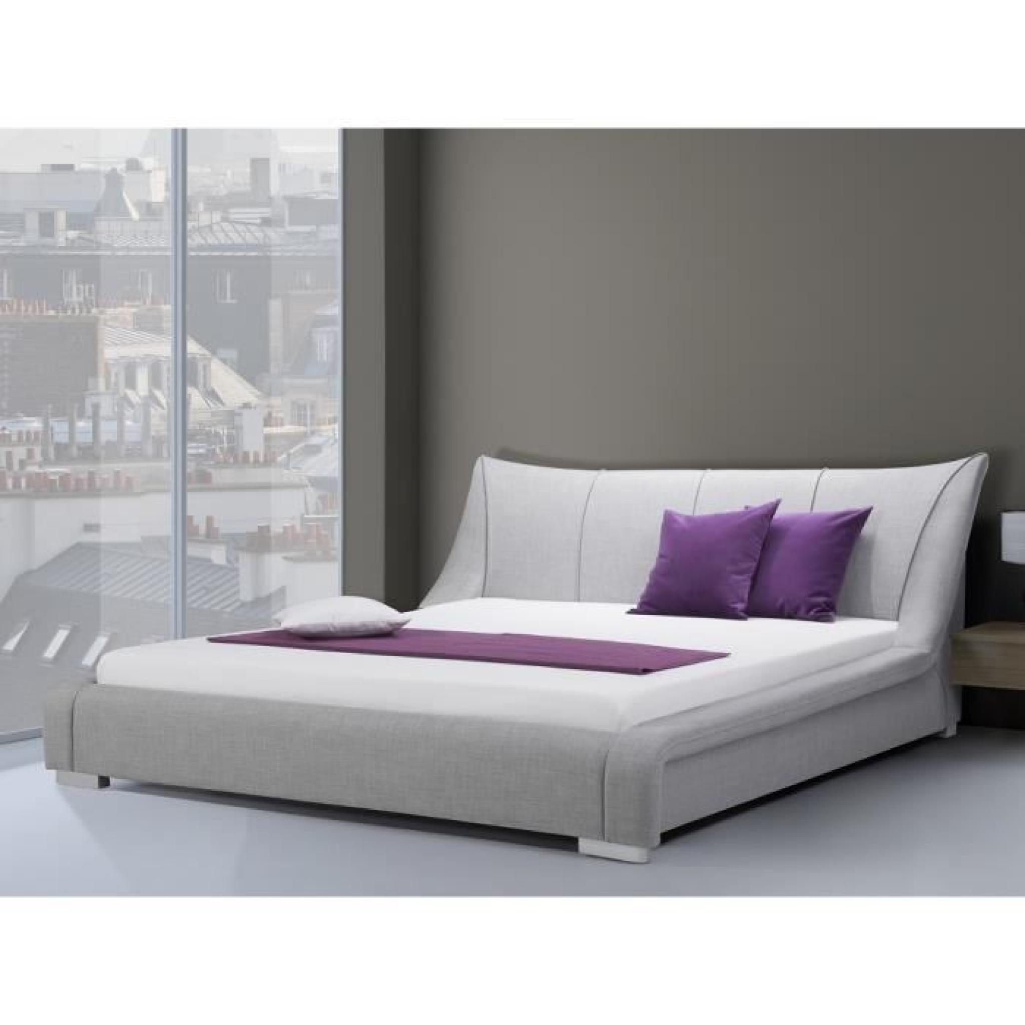 lit design en tissu lit double 180x200 cm gris. Black Bedroom Furniture Sets. Home Design Ideas