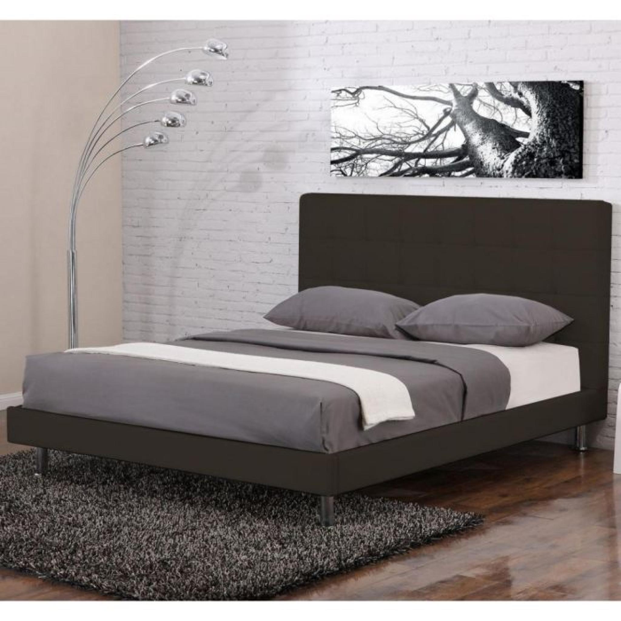 lit design milano chocolat 160x200 achat vente lit pas cher couleur et. Black Bedroom Furniture Sets. Home Design Ideas