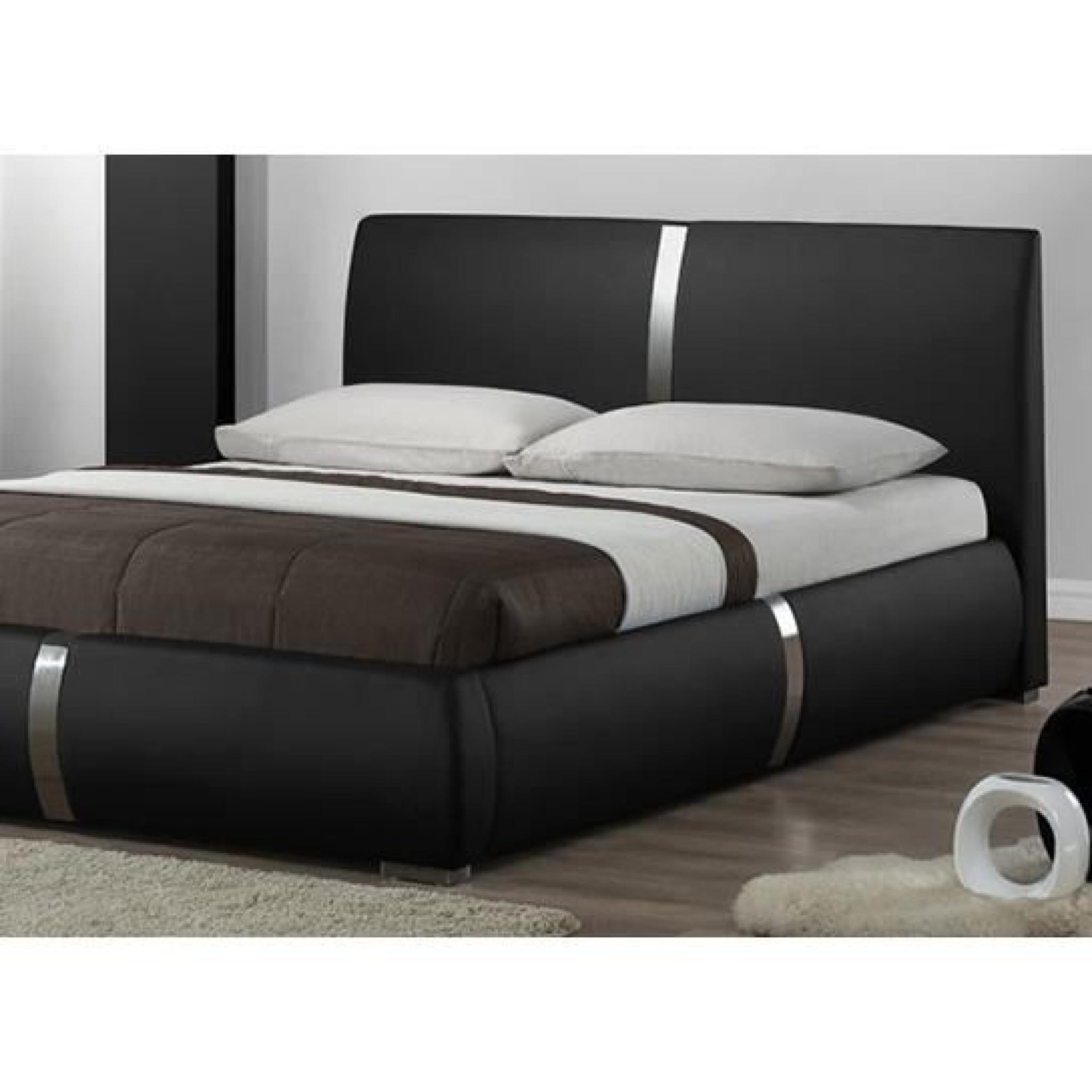 Lit Design Noir Ulysse 160cm. modèle moderne et...