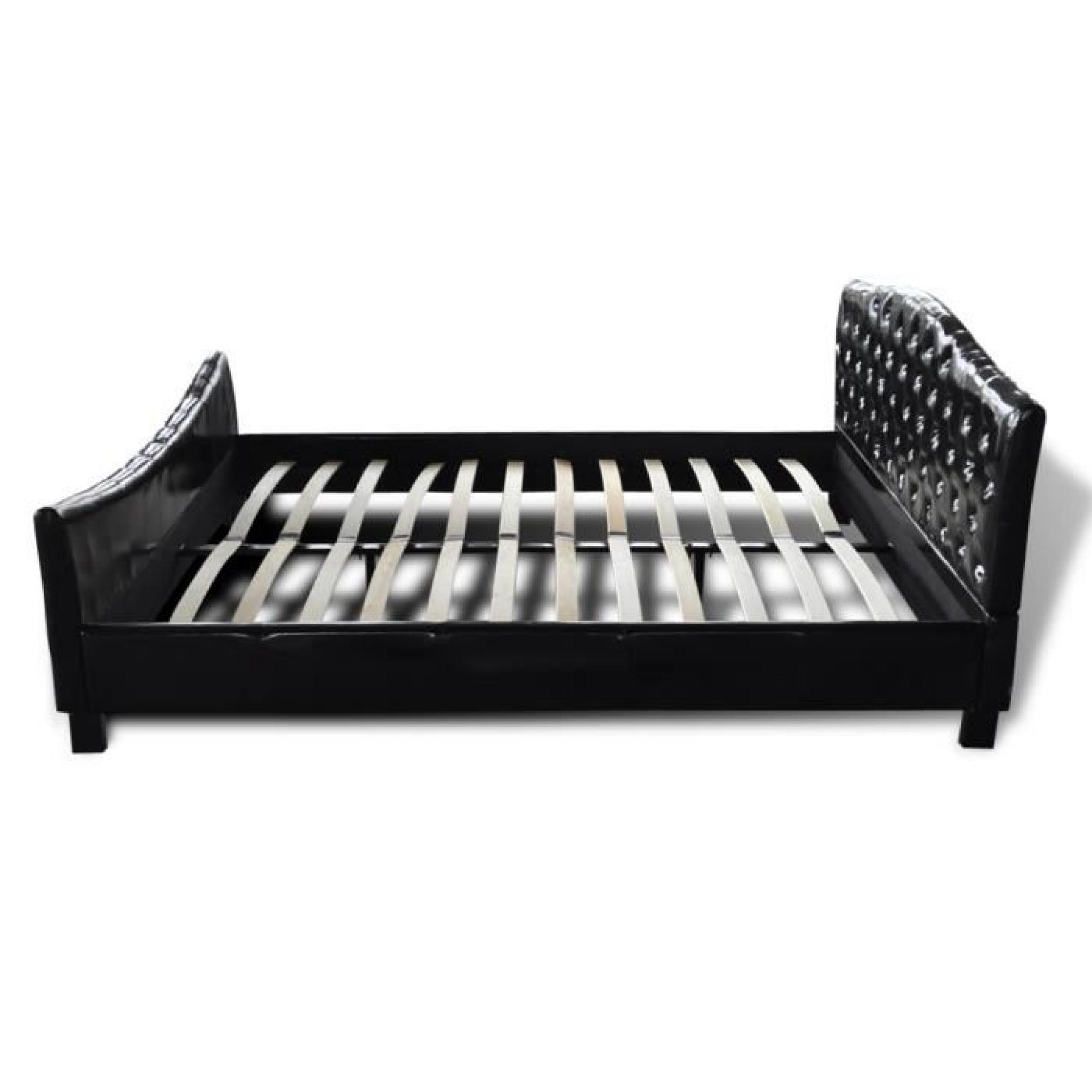 lit diamant 180x200 en cuir noir avec cristaux achat vente lit pas cher couleur et. Black Bedroom Furniture Sets. Home Design Ideas