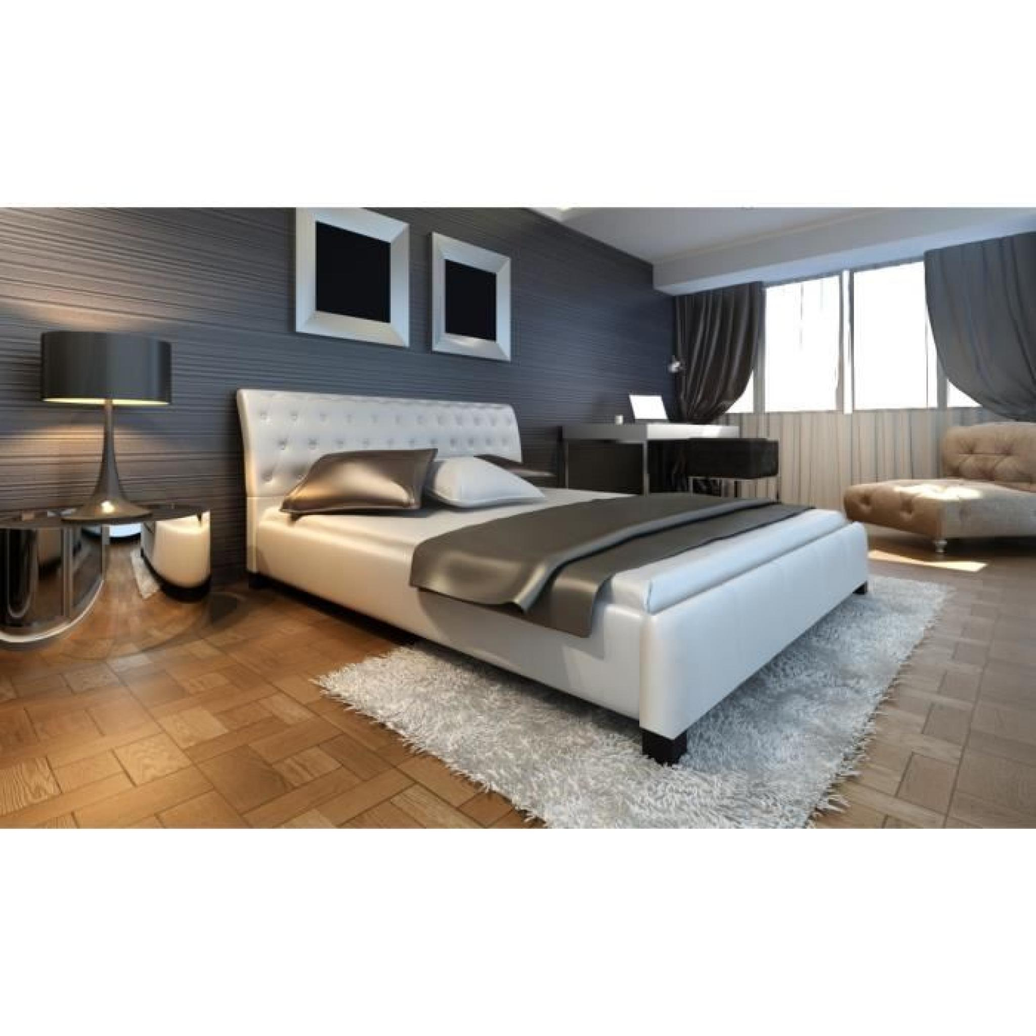 lit en cuir 140 200 cm blanc moderne lit double achat vente lit pas cher couleur et. Black Bedroom Furniture Sets. Home Design Ideas