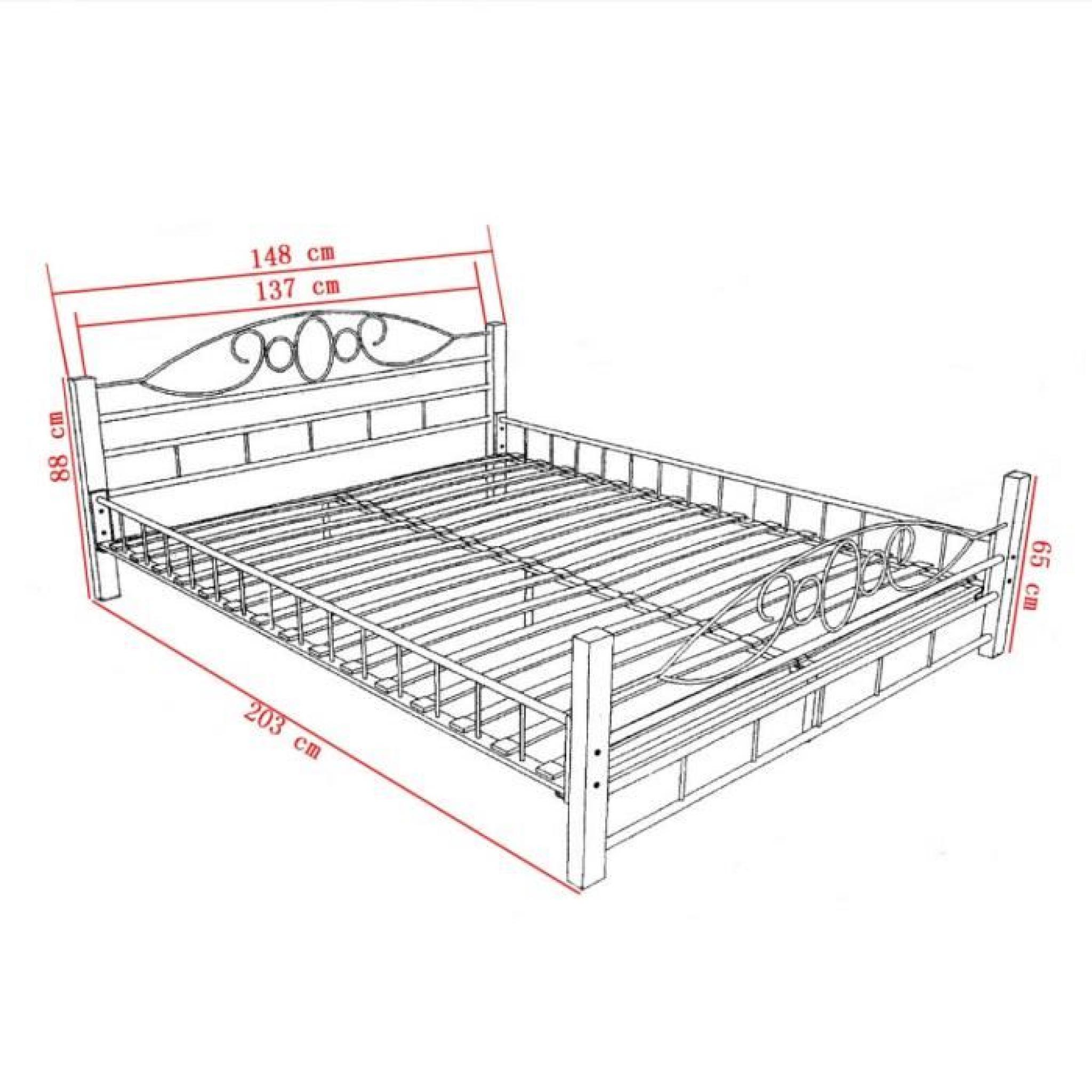 lit en m tal et pieds en bois 140 x 200 cm achat vente lit pas cher couleur et. Black Bedroom Furniture Sets. Home Design Ideas